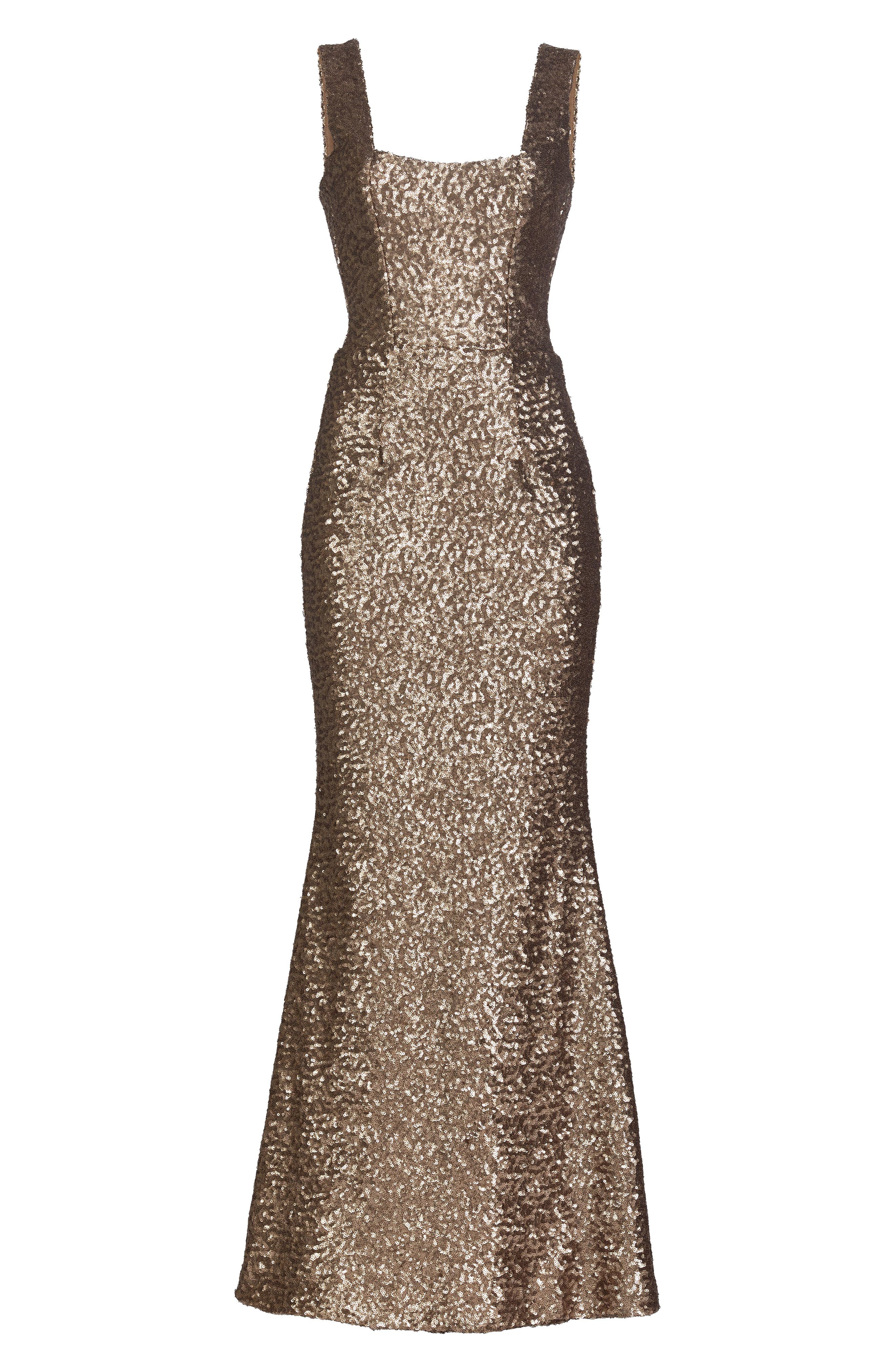 Raven Sequin Gown,                             Alternate thumbnail 4, color,                             Brass