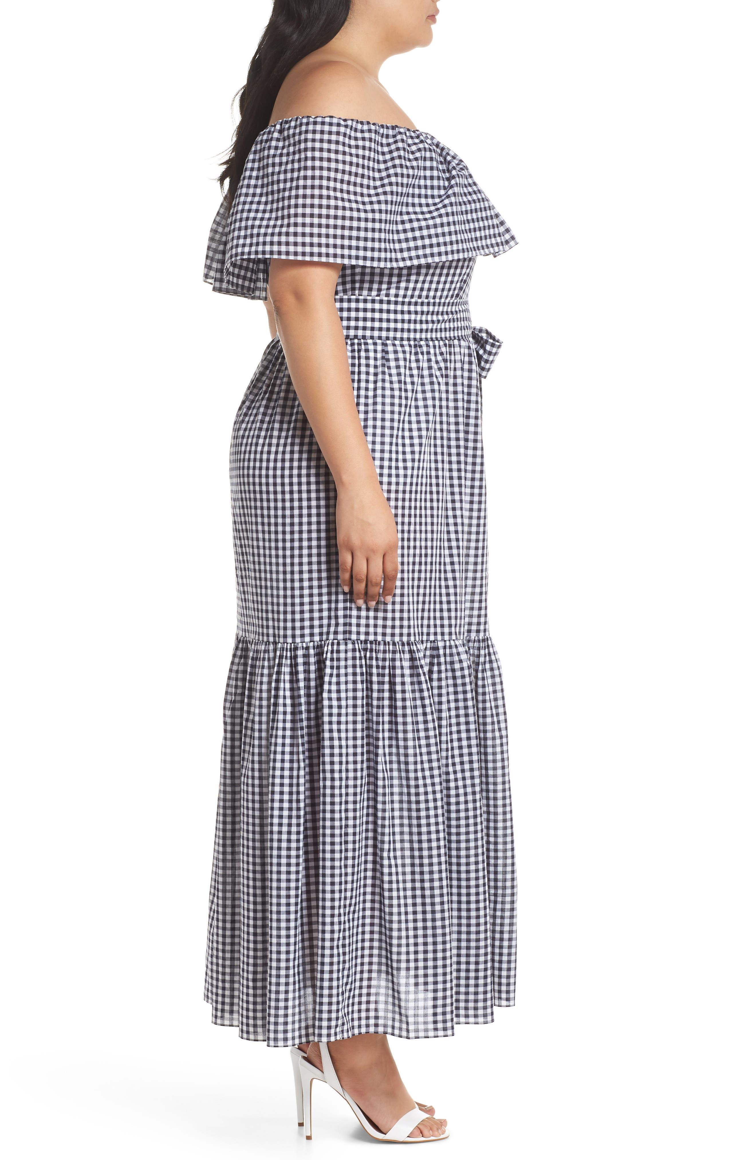 Off the Shoulder Gingham Maxi Dress,                             Alternate thumbnail 3, color,                             Blue White Gingham
