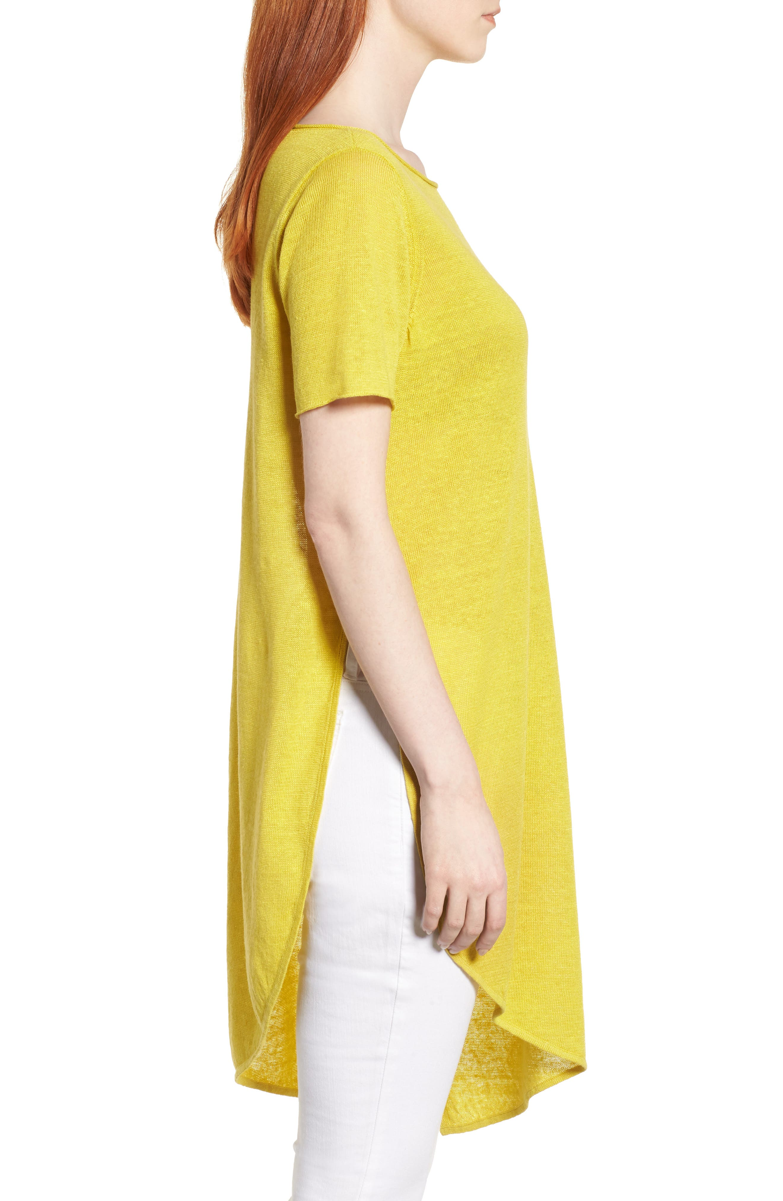 Asymmetrical Organic Linen Tunic,                             Alternate thumbnail 3, color,                             Yarrow