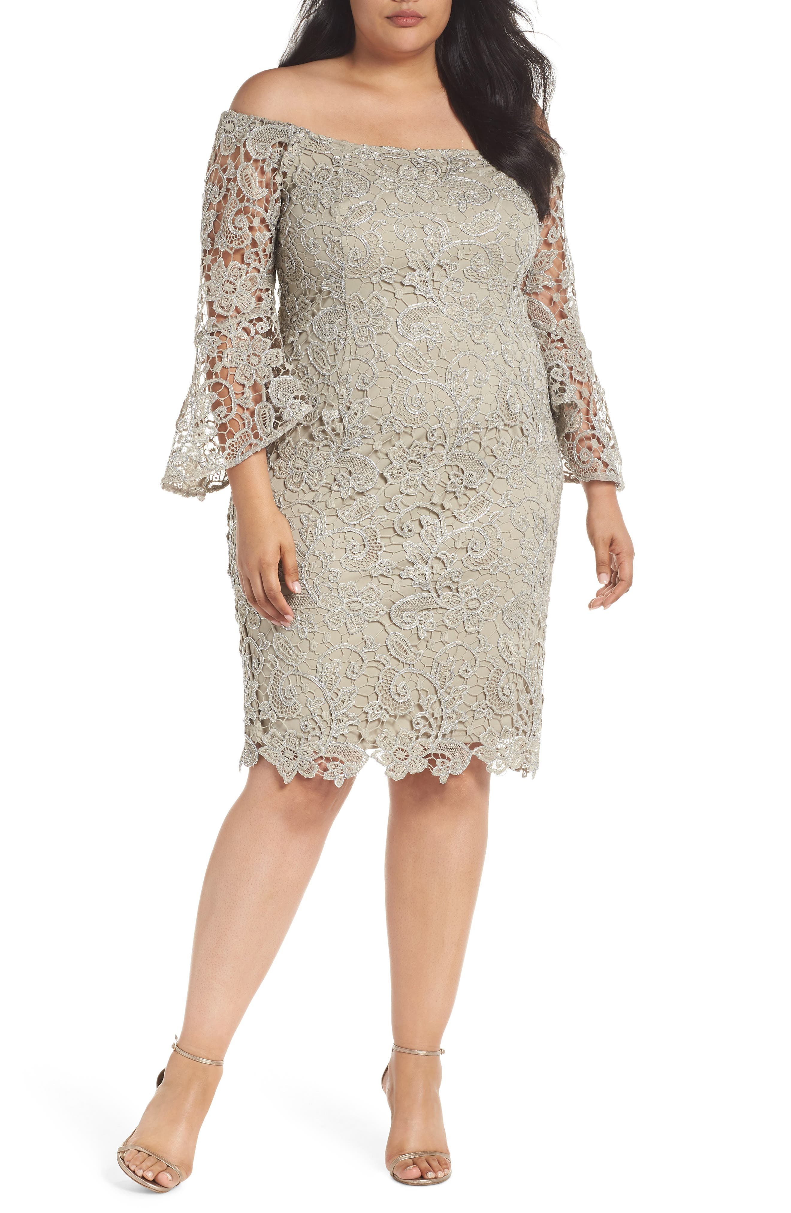 Marina Lace Off the Shoulder Bell Sleeve Dress (Plus Size)