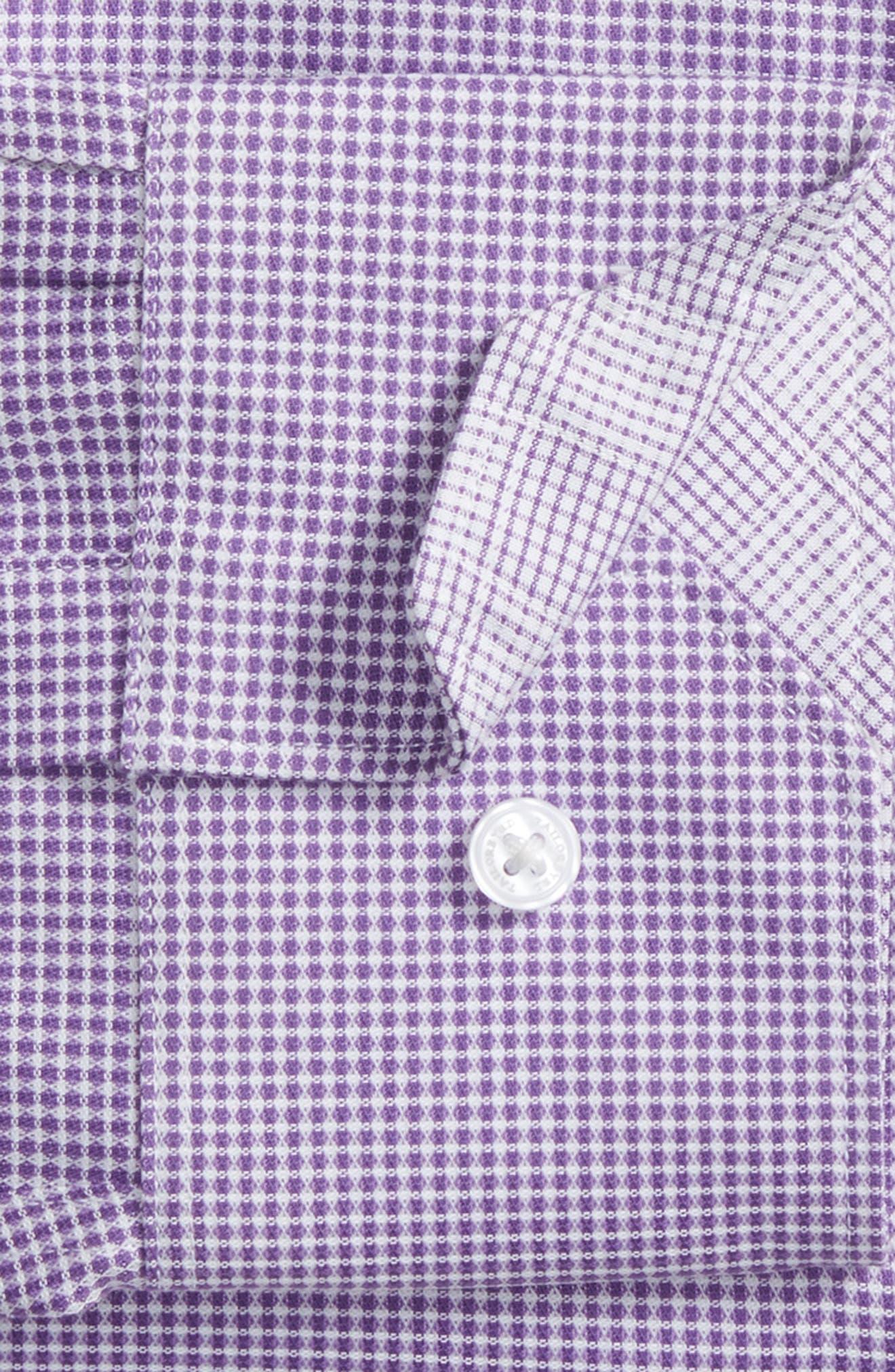 Hayden Trim Fit Check Dress Shirt,                             Alternate thumbnail 5, color,                             Purple