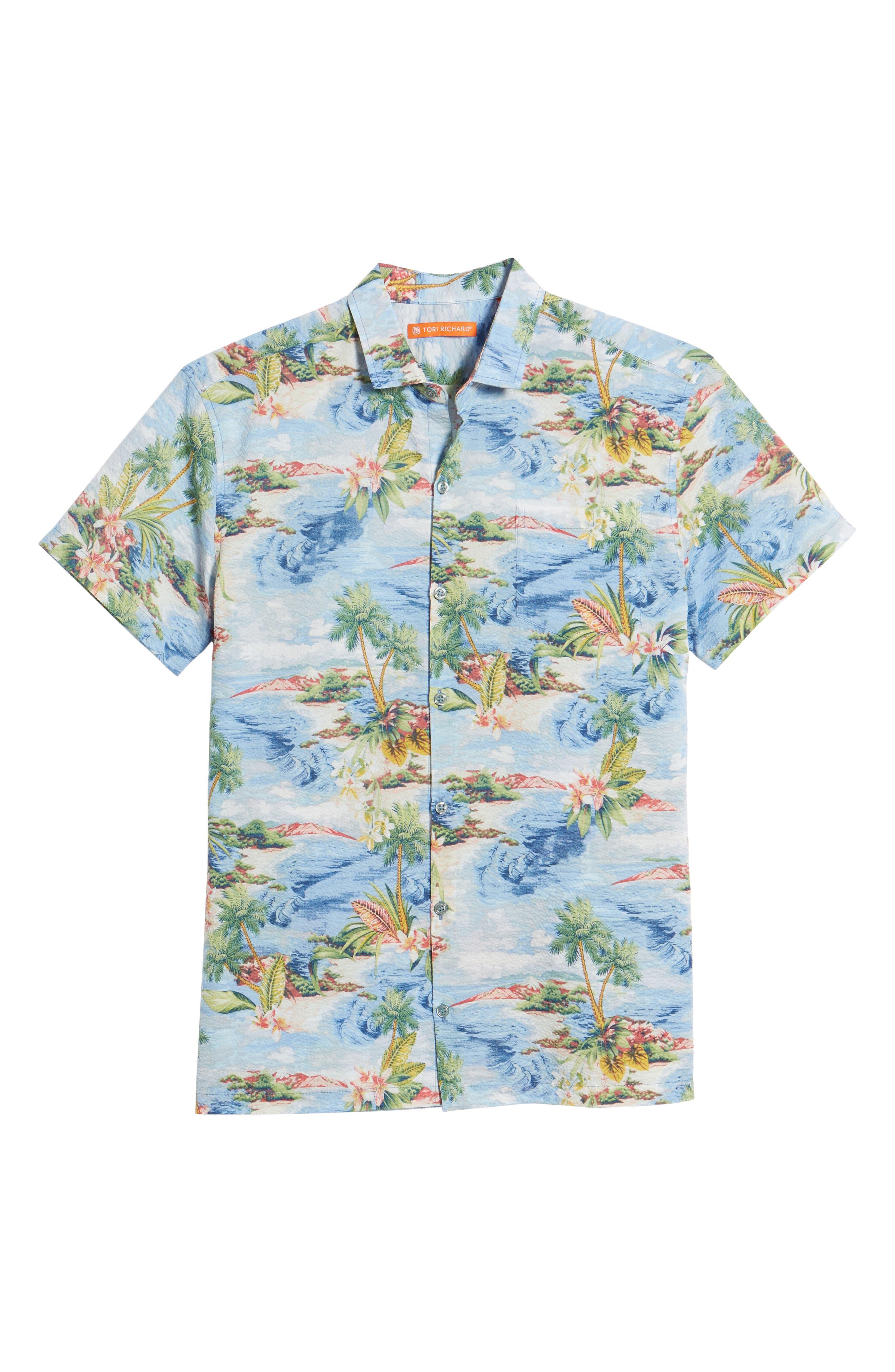 Private Isle Trim Fit Camp Shirt,                             Alternate thumbnail 6, color,                             Wave