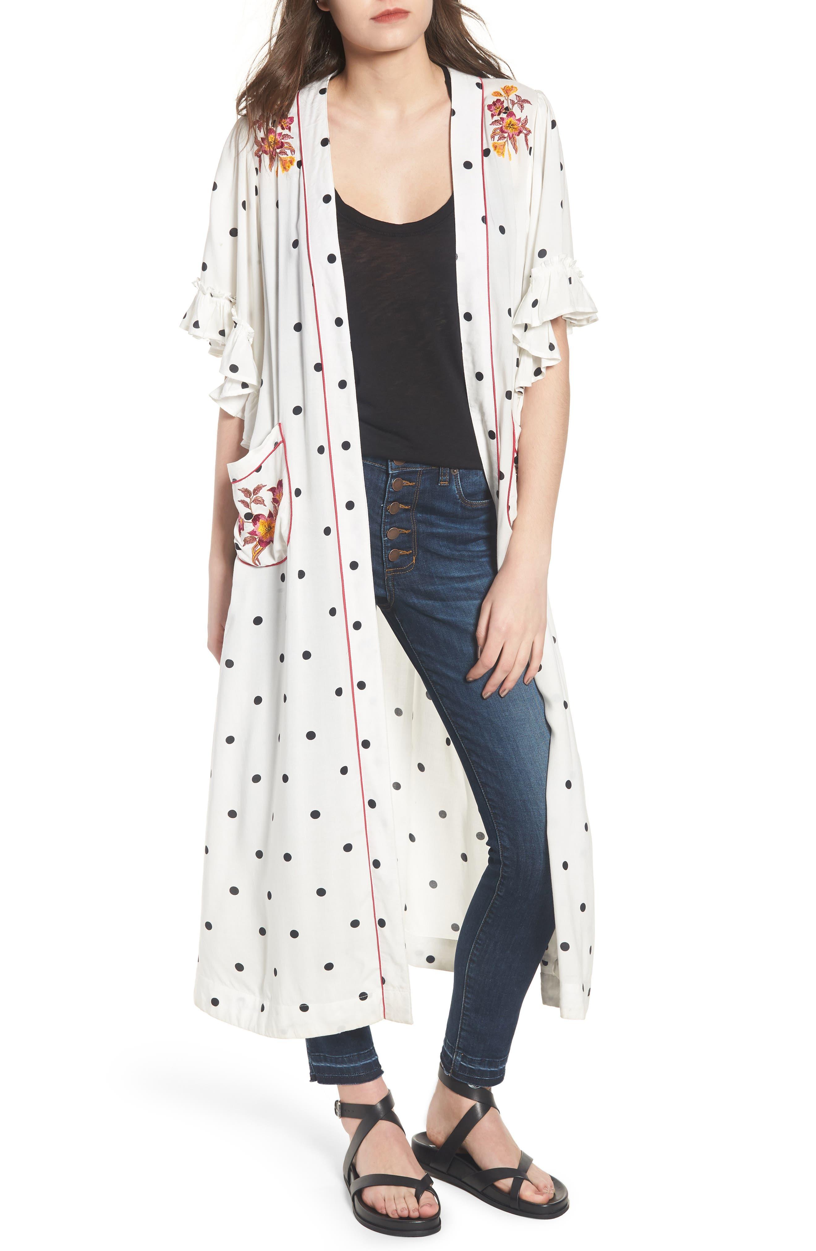 Hot Spot Kimono,                             Main thumbnail 1, color,                             Black/ White Polka Dot Print