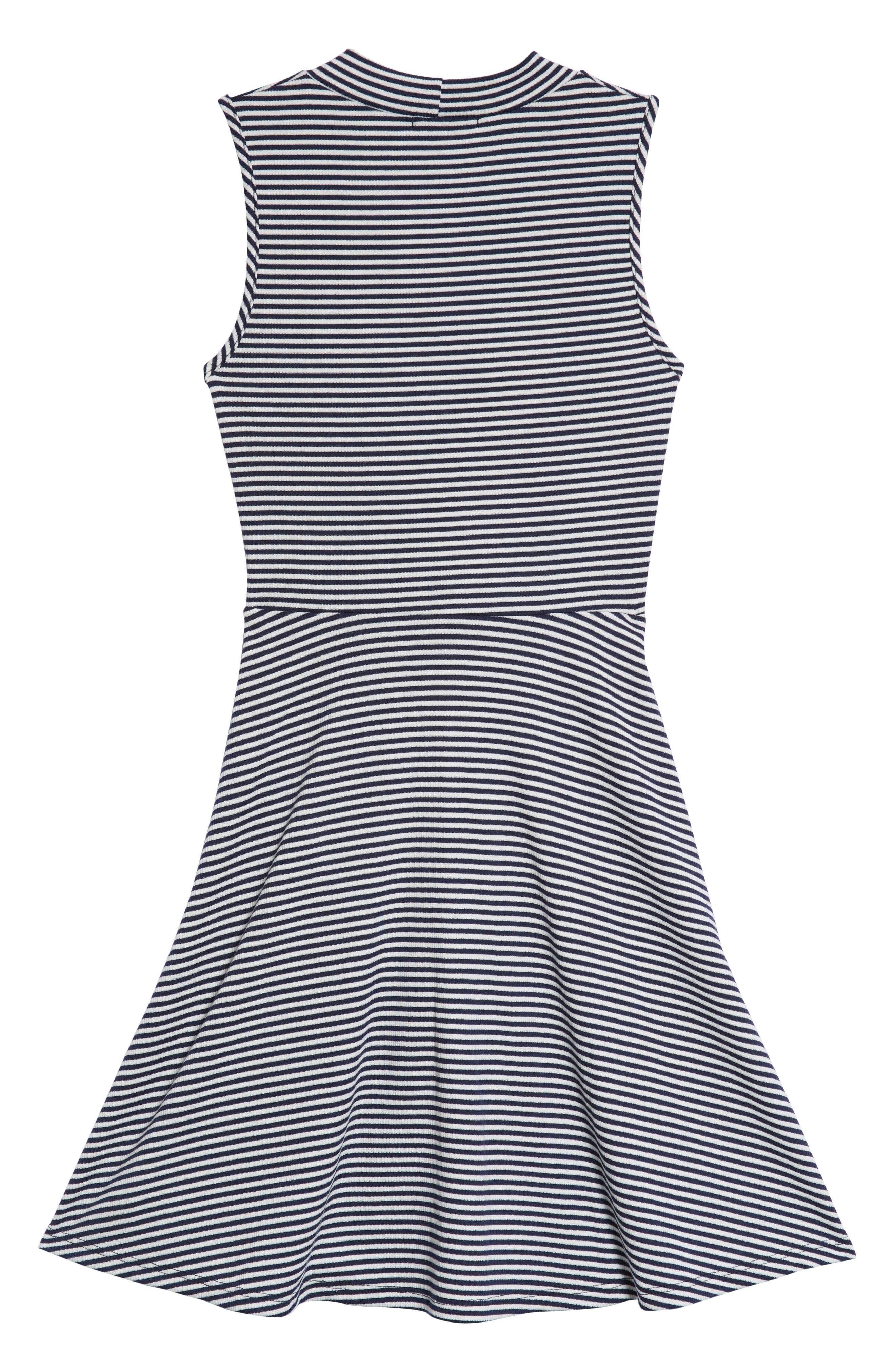 Tie Front Skater Dress,                             Alternate thumbnail 2, color,                             Navy/ White
