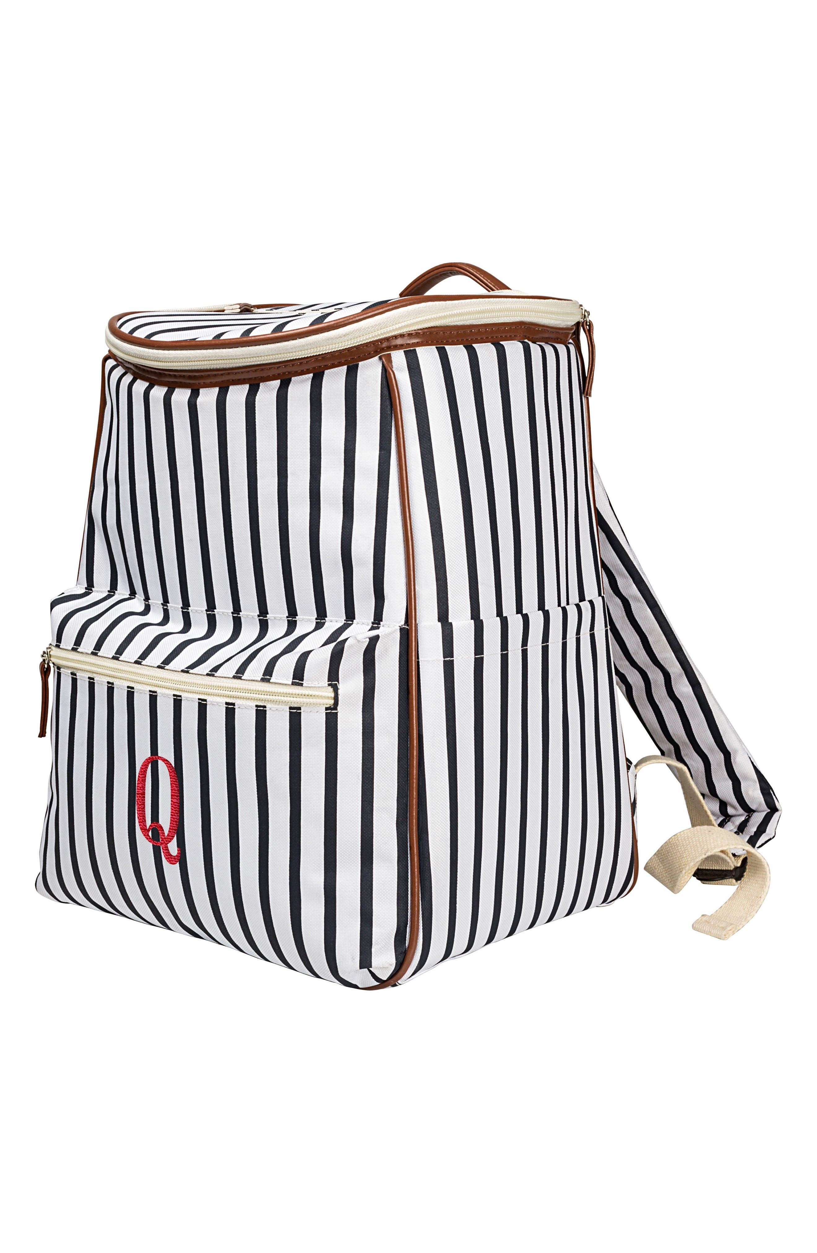 Monogram Stripe Backpack Cooler,                         Main,                         color, Blue - Q
