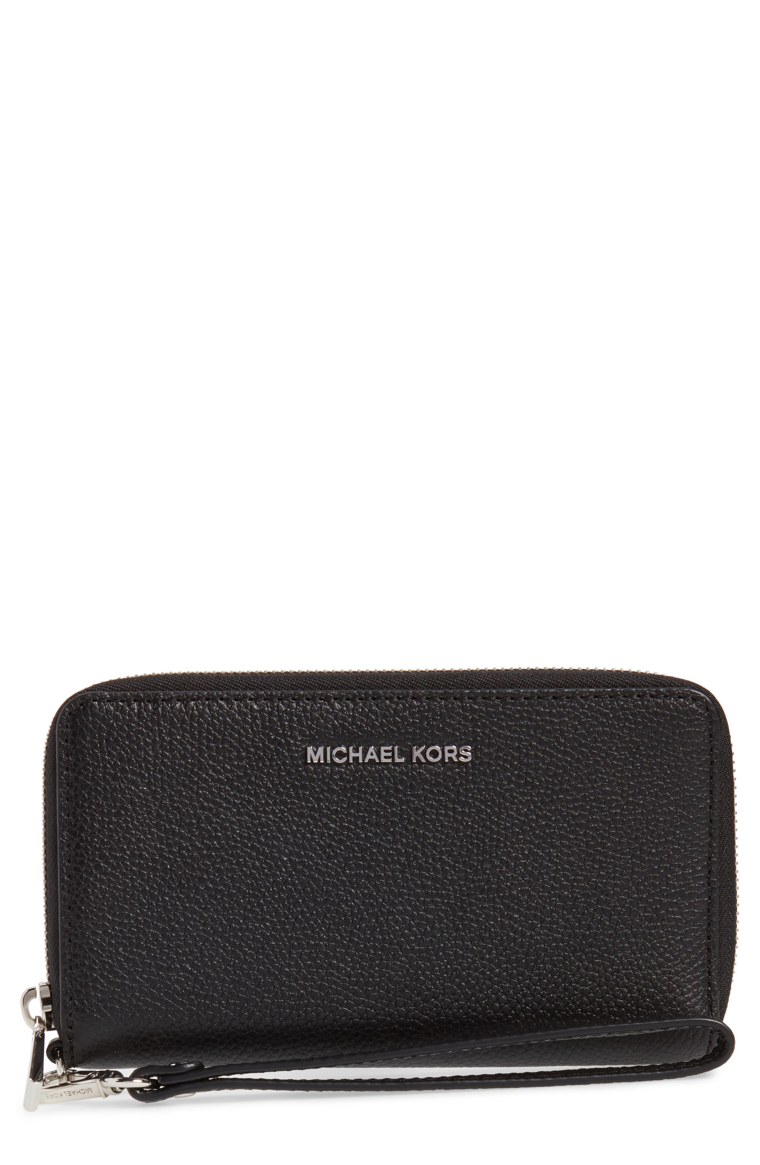 Mercer Large Leather Wristlet,                             Main thumbnail 1, color,                             Black