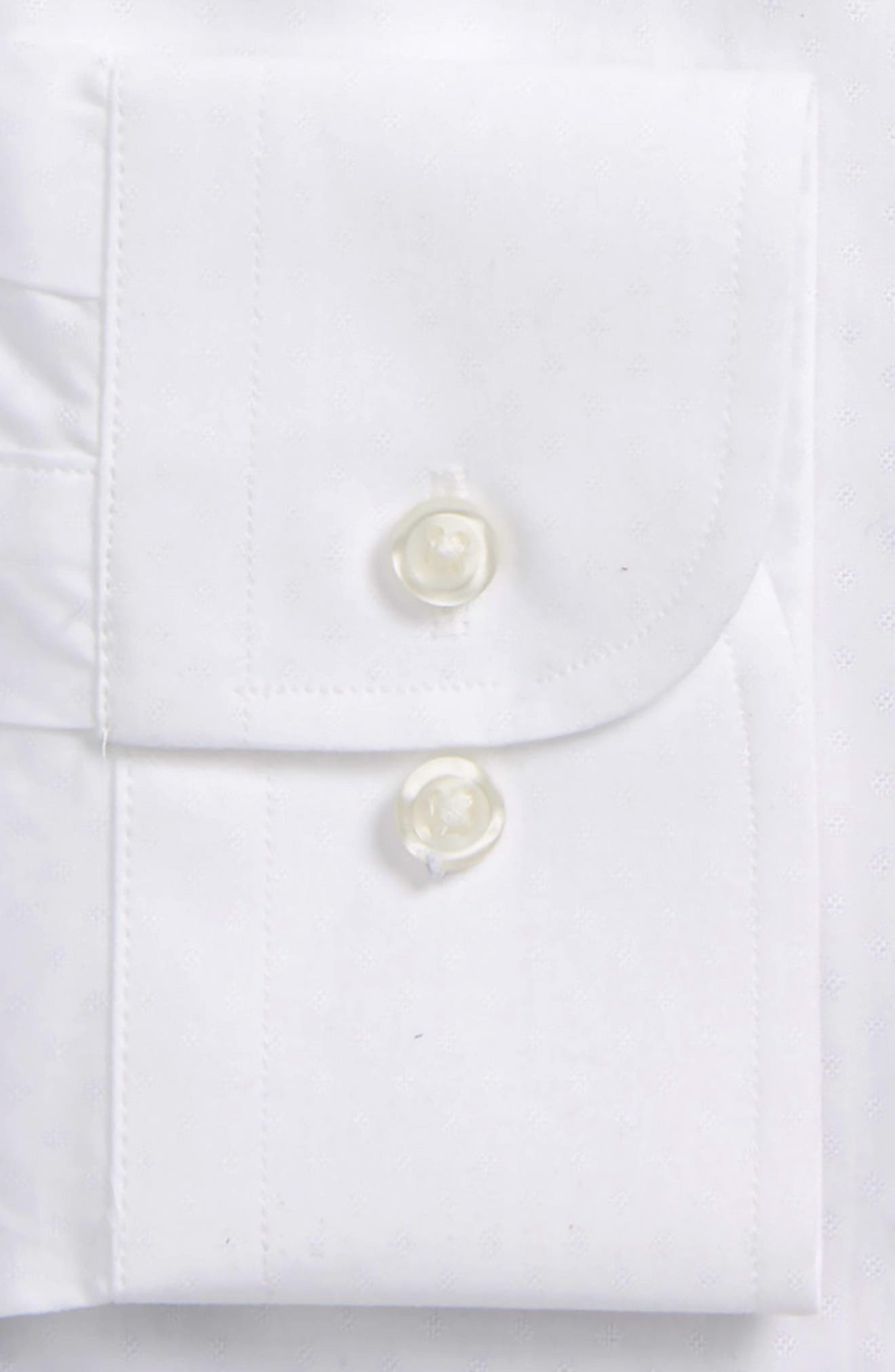 Trim Fit Dobby Dot Dress Shirt,                             Alternate thumbnail 2, color,                             White