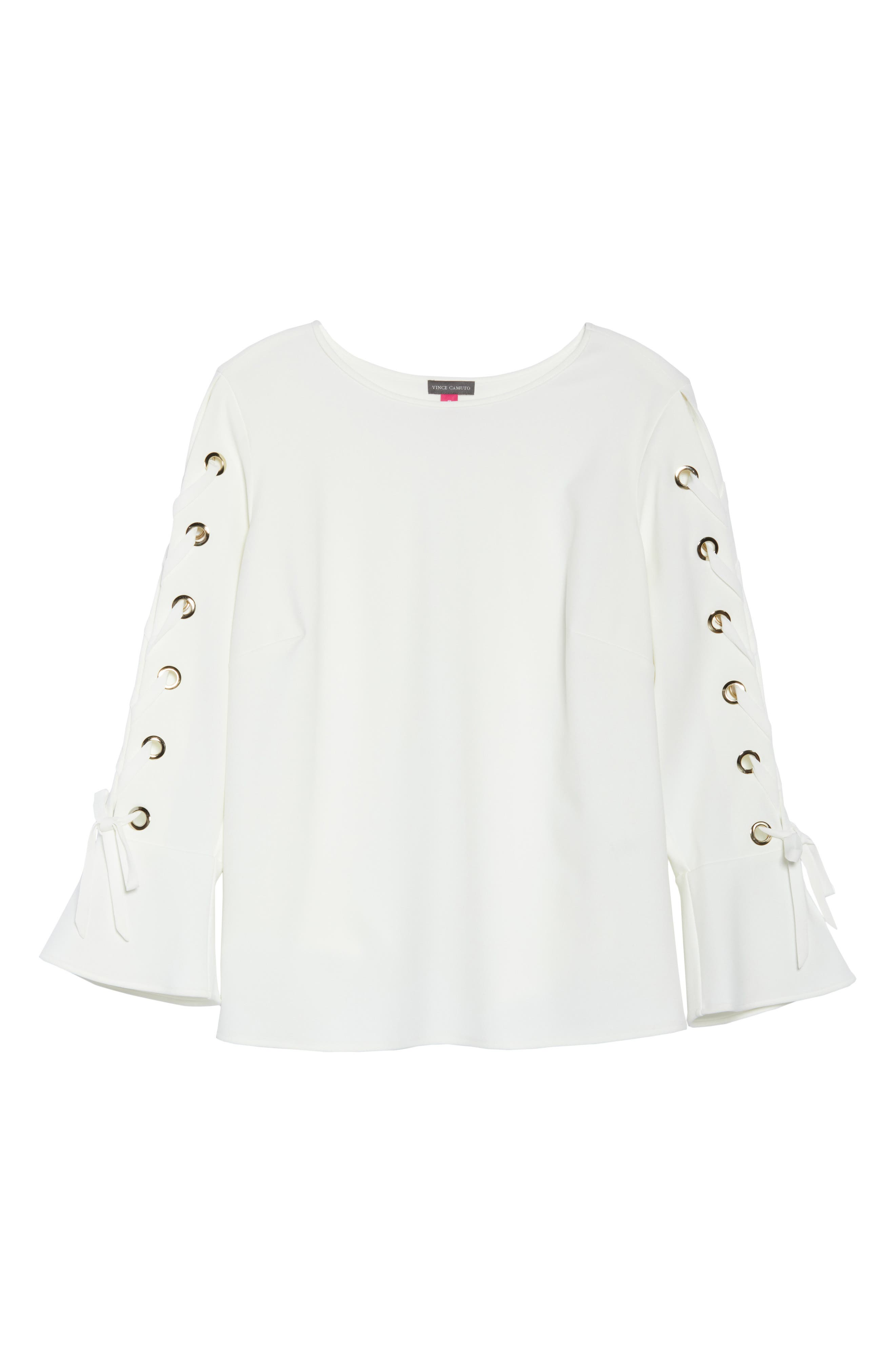 Lace-Up Bell Sleeve Top,                             Alternate thumbnail 7, color,                             New Ivory