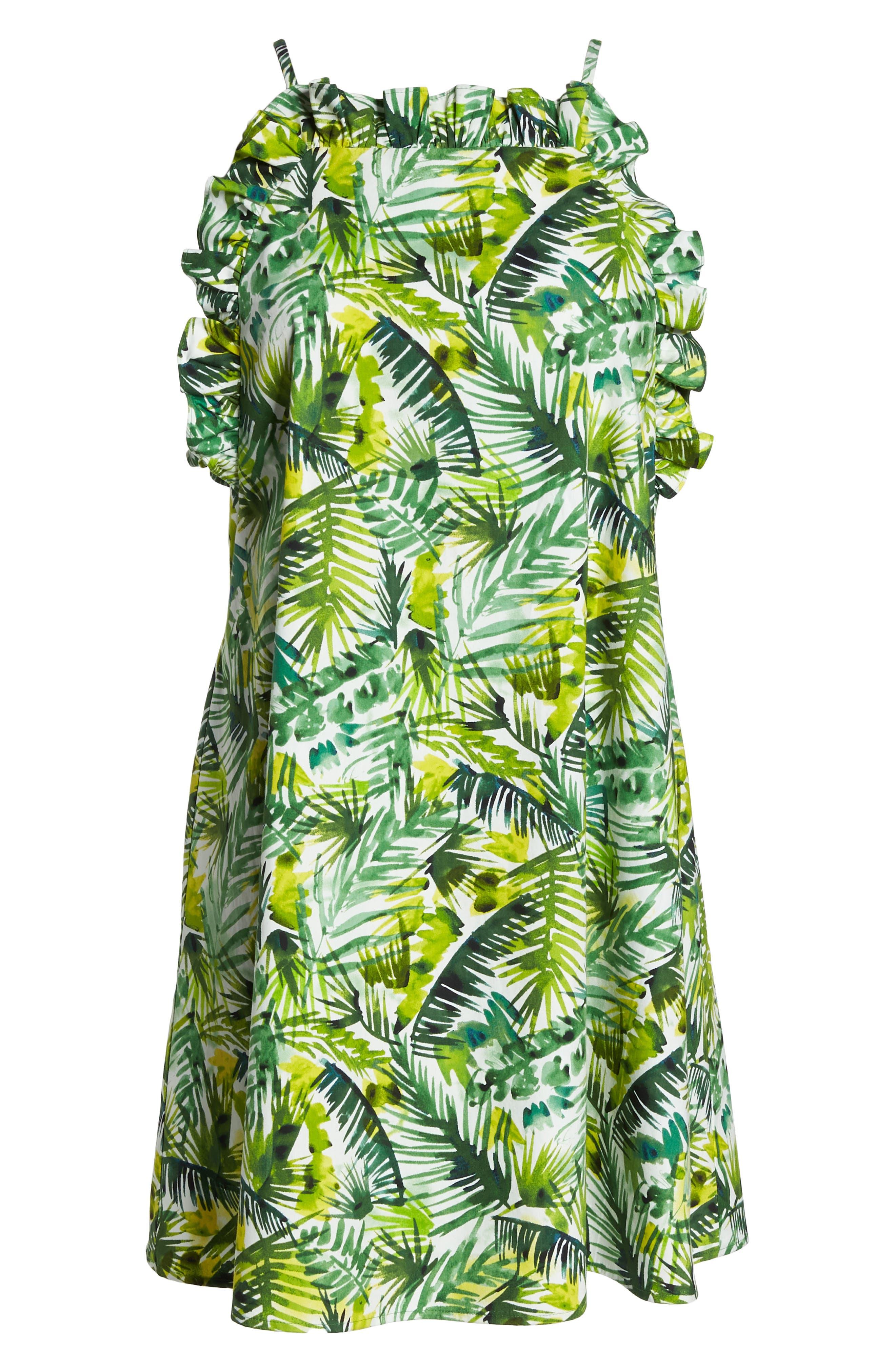 Ruffle Top Shift Dress,                             Alternate thumbnail 7, color,                             Soft White/ Green