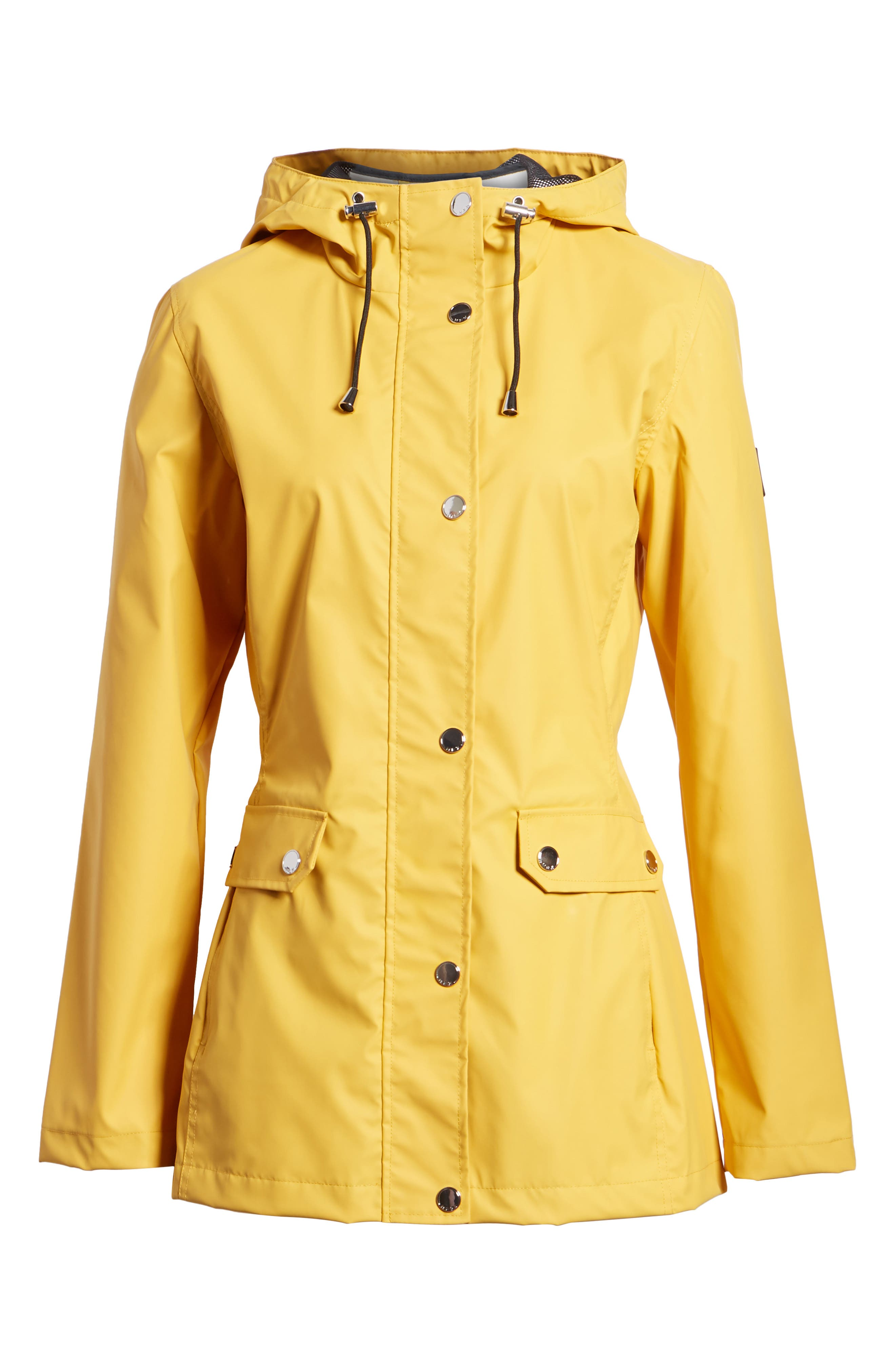 Hooded Raincoat,                             Alternate thumbnail 6, color,                             Yellow