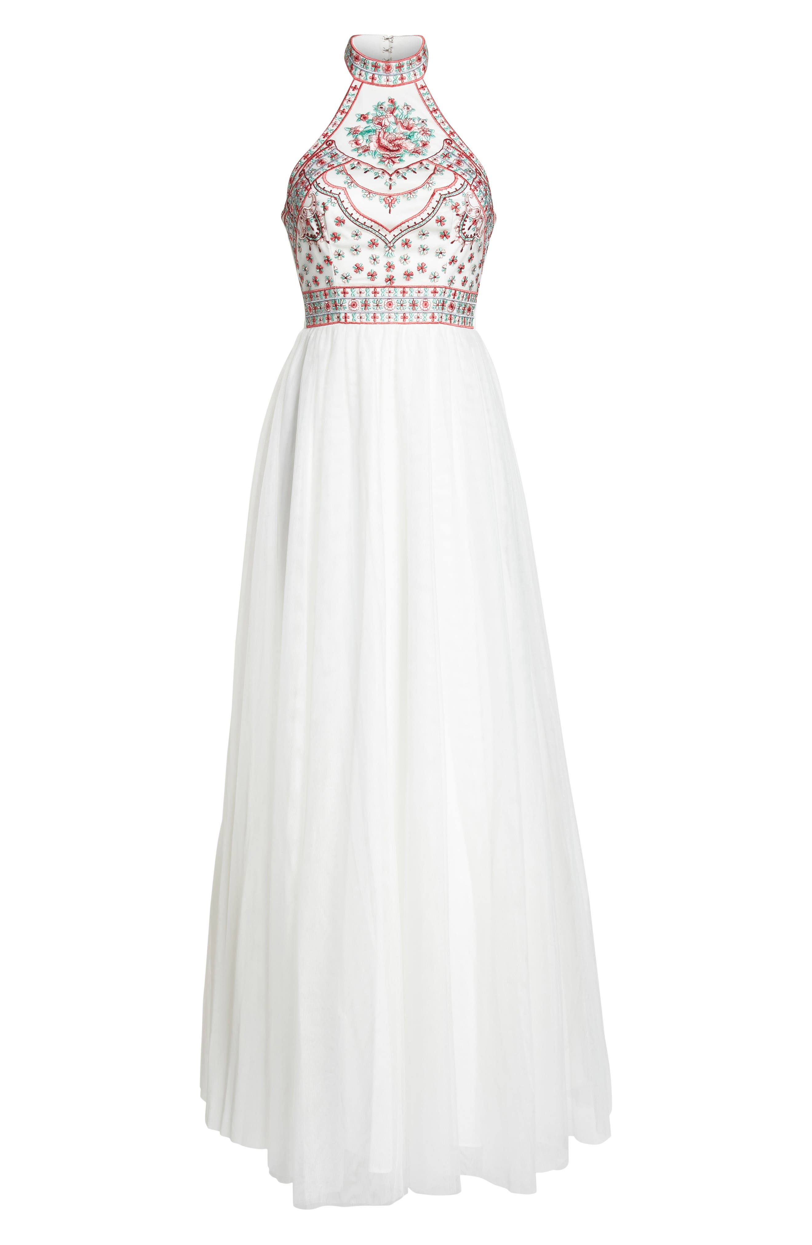 Embroidered Halter Gown,                             Alternate thumbnail 6, color,                             Ivory/ Multi
