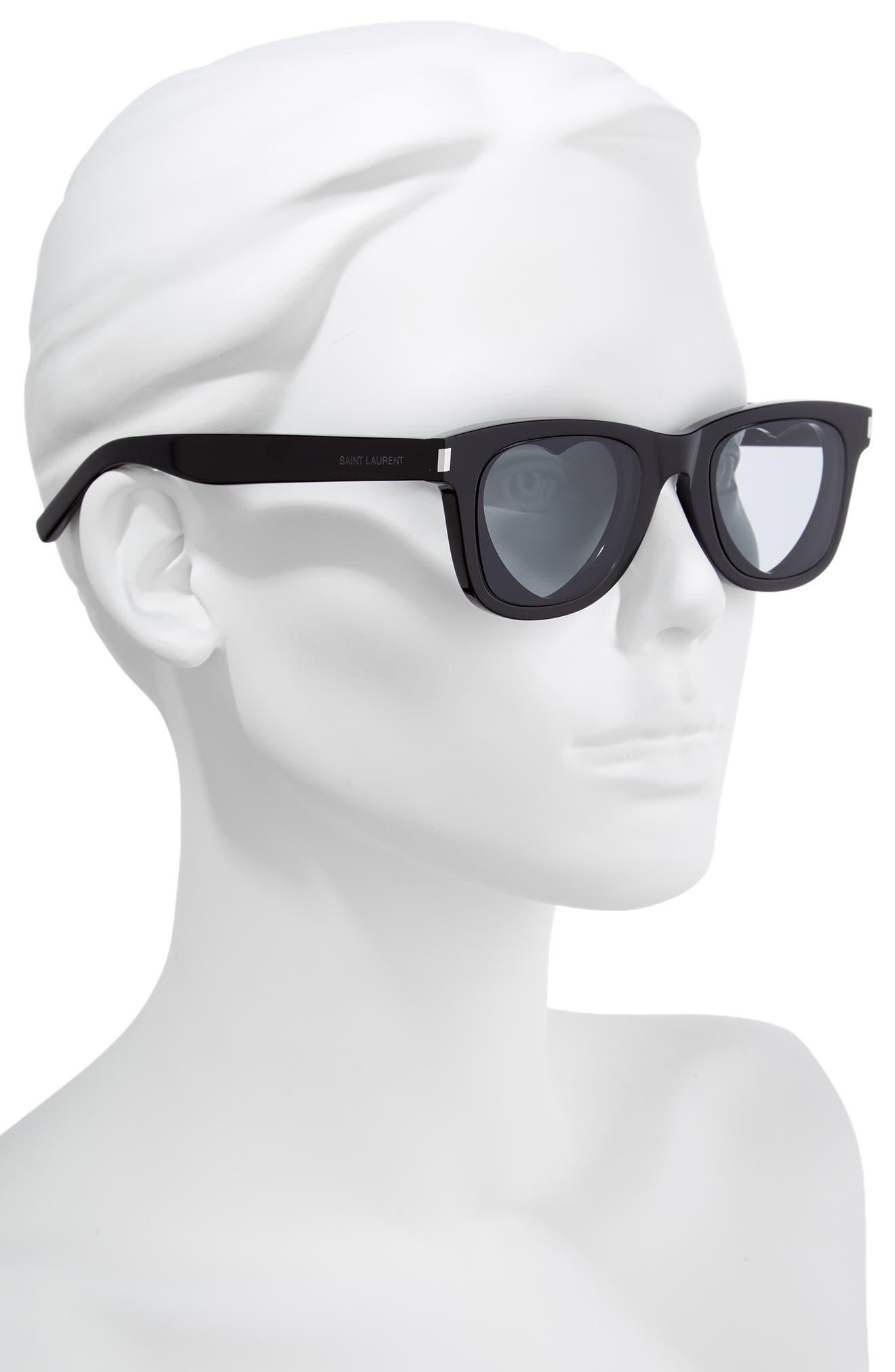 50mm Heart Sunglasses,                             Alternate thumbnail 2, color,                             Black