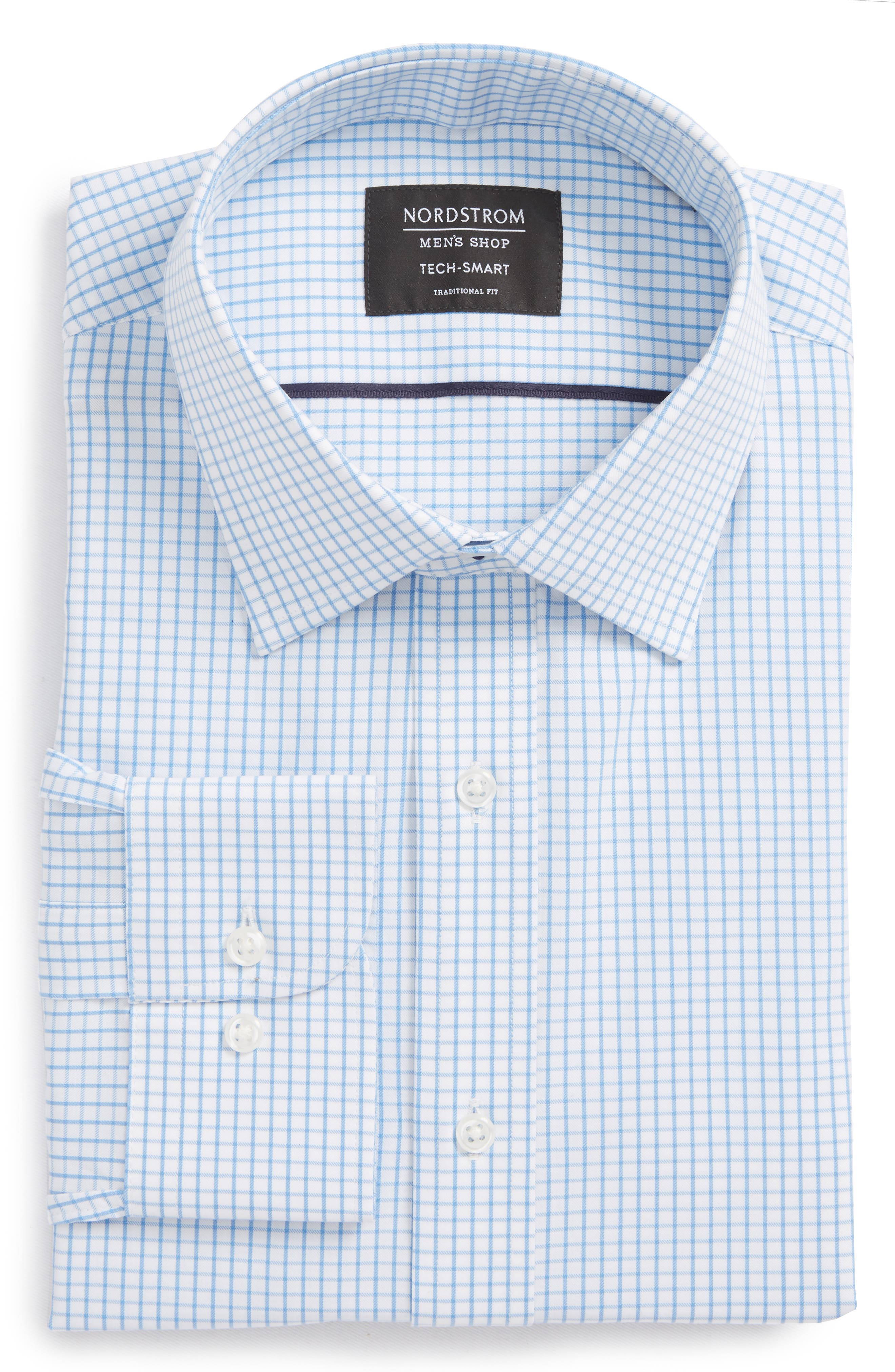 Tech-Smart Traditional Fit Stretch Tattersall Dress Shirt,                         Main,                         color, Blue Lake