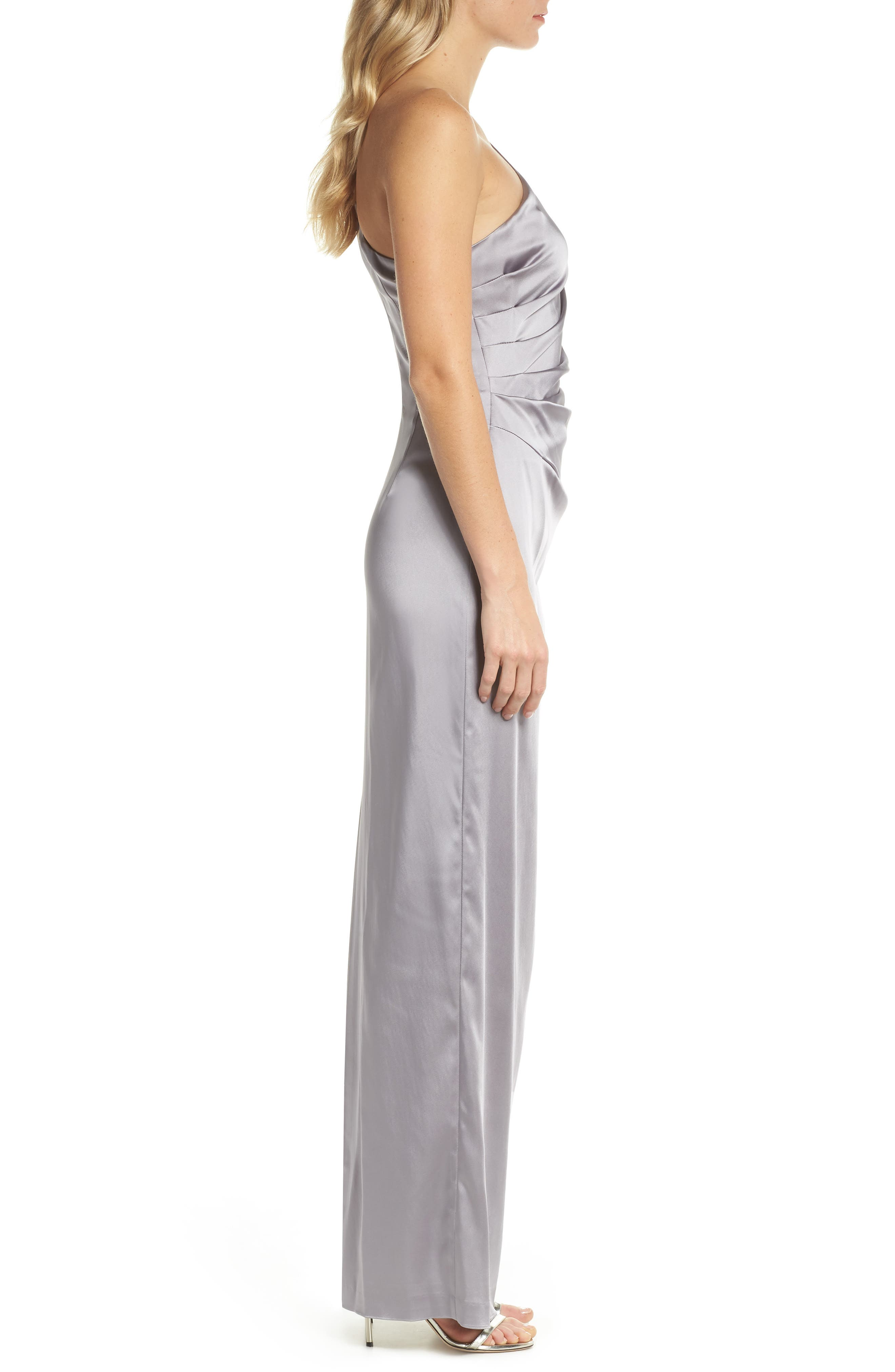 One-Shoulder Stretch Satin Gown,                             Alternate thumbnail 3, color,                             Silver