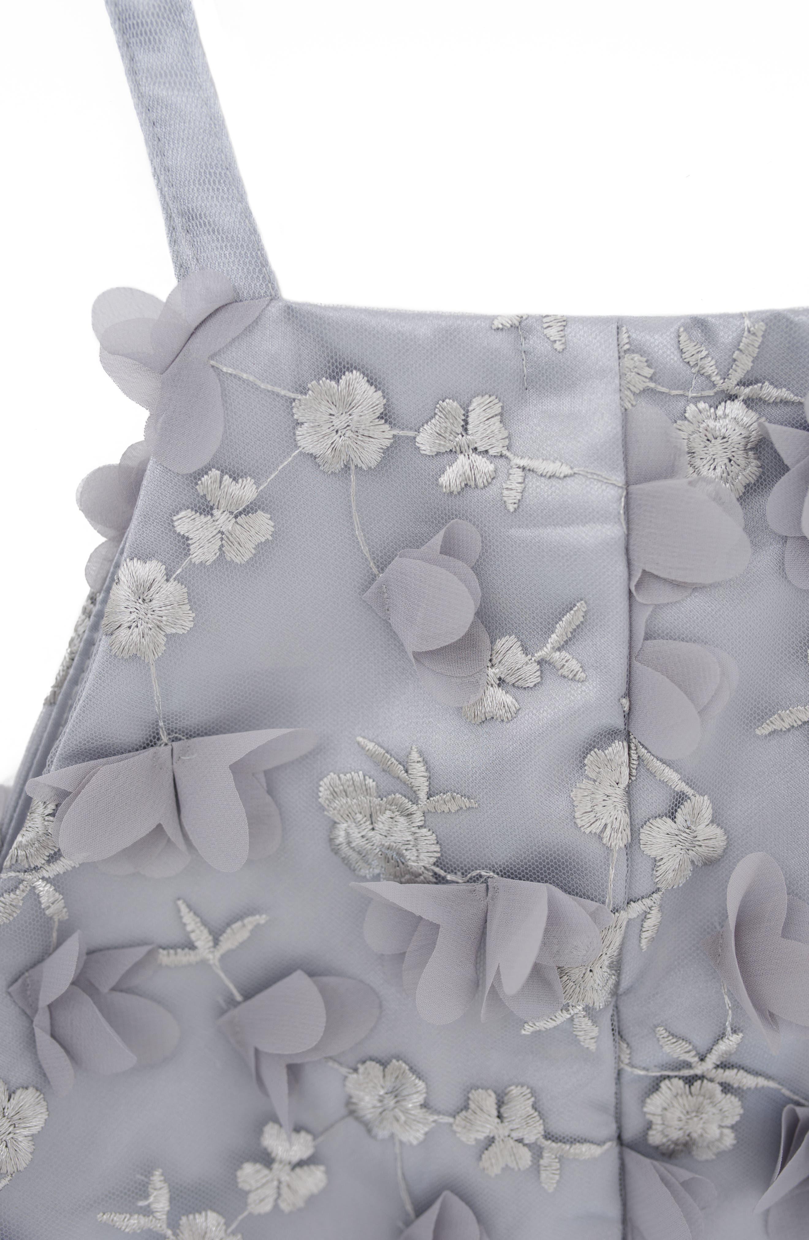 Stella M'Lia 3D Tulle Two-Piece Dress,                             Alternate thumbnail 3, color,                             Silver