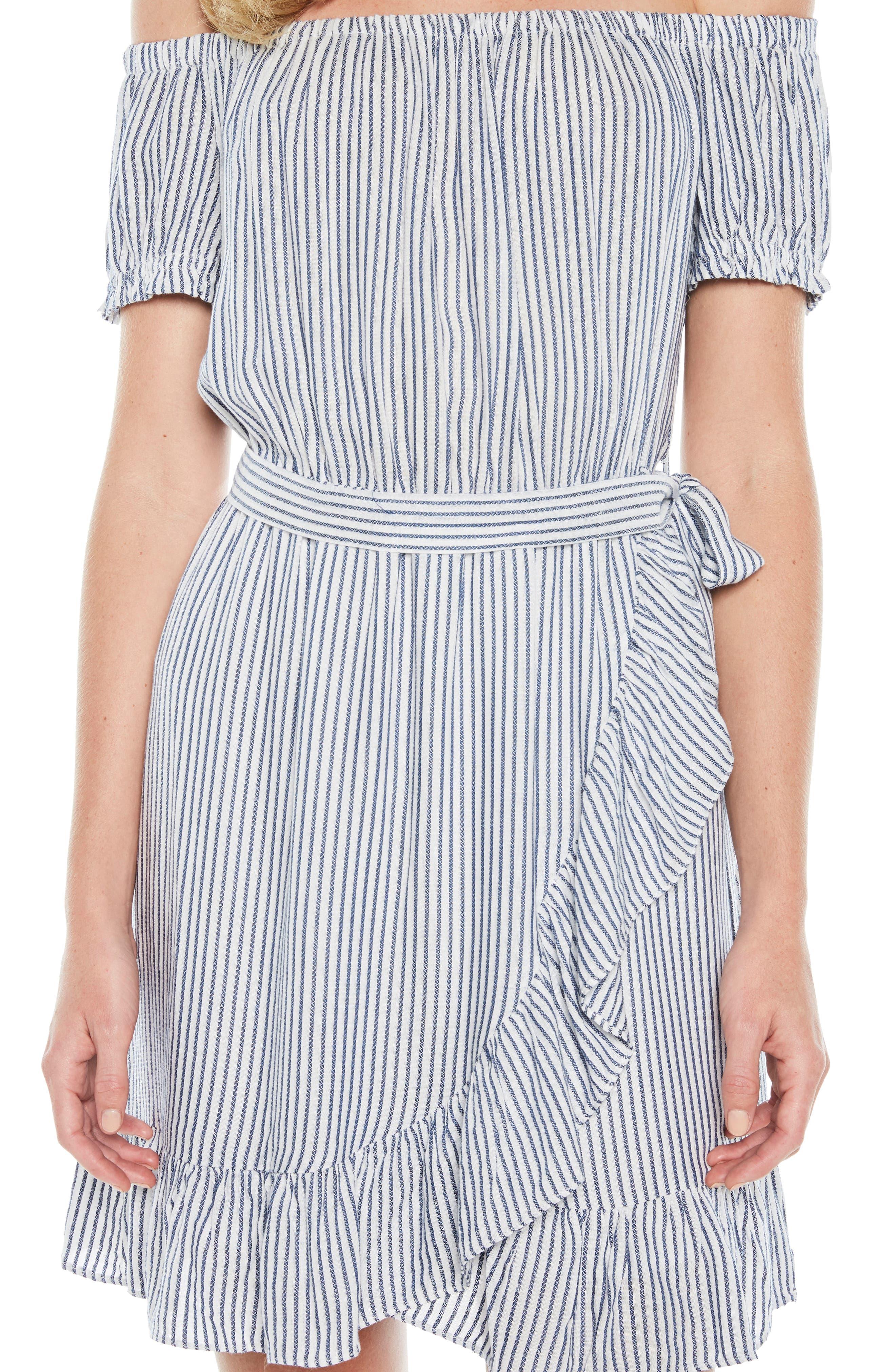 Bobbi Off the Shoulder Stripe Dress,                             Alternate thumbnail 4, color,                             Blue/ White