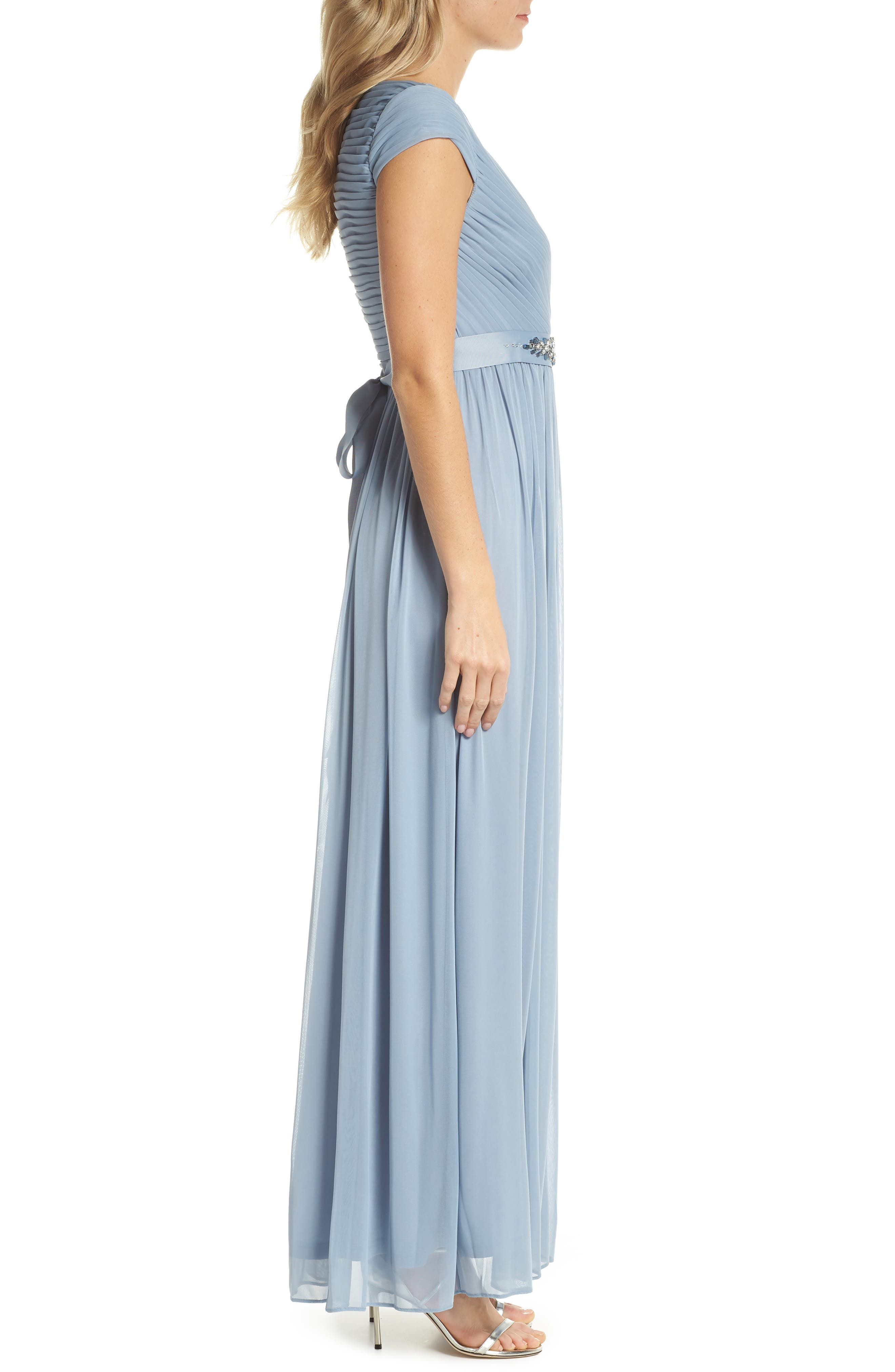 Shirred Chiffon Gown,                             Alternate thumbnail 3, color,                             Dusty Periwinkle