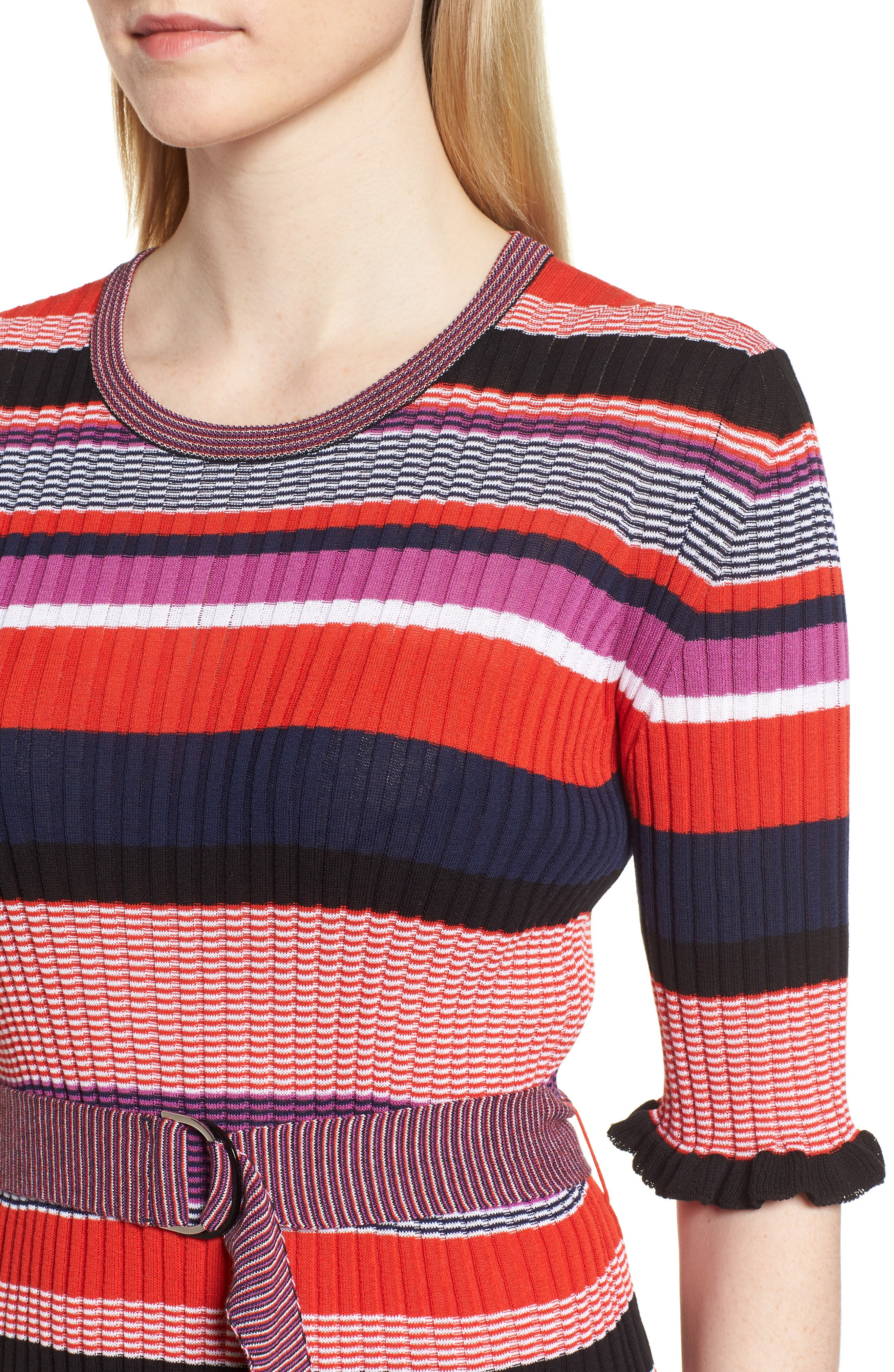 Fantonia Stripe Knit Sheath Dress,                             Alternate thumbnail 4, color,                             Black Fantasy