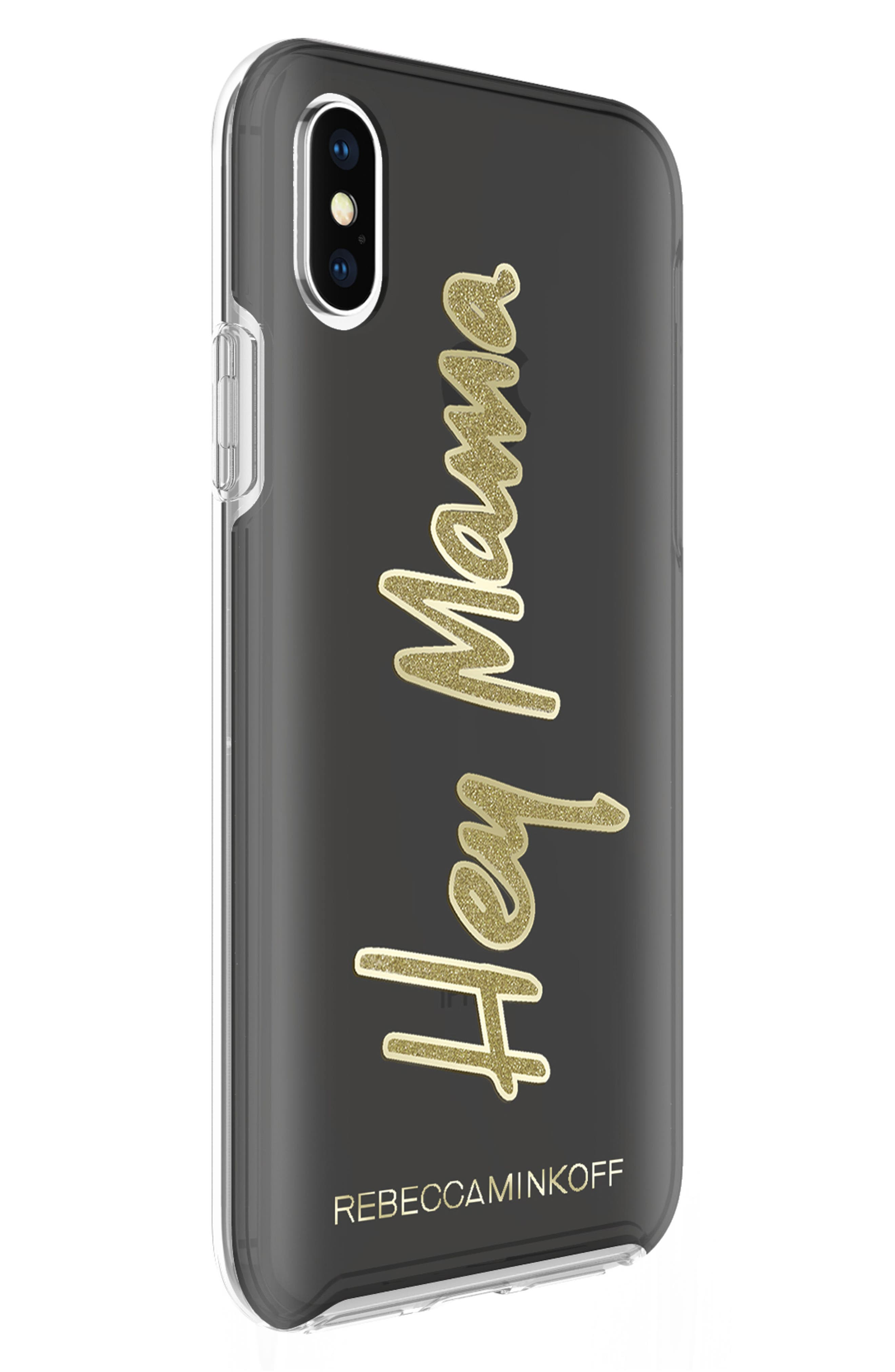 Hey Mama iPhone X Case,                             Alternate thumbnail 3, color,                             Black/ Gold Glitter