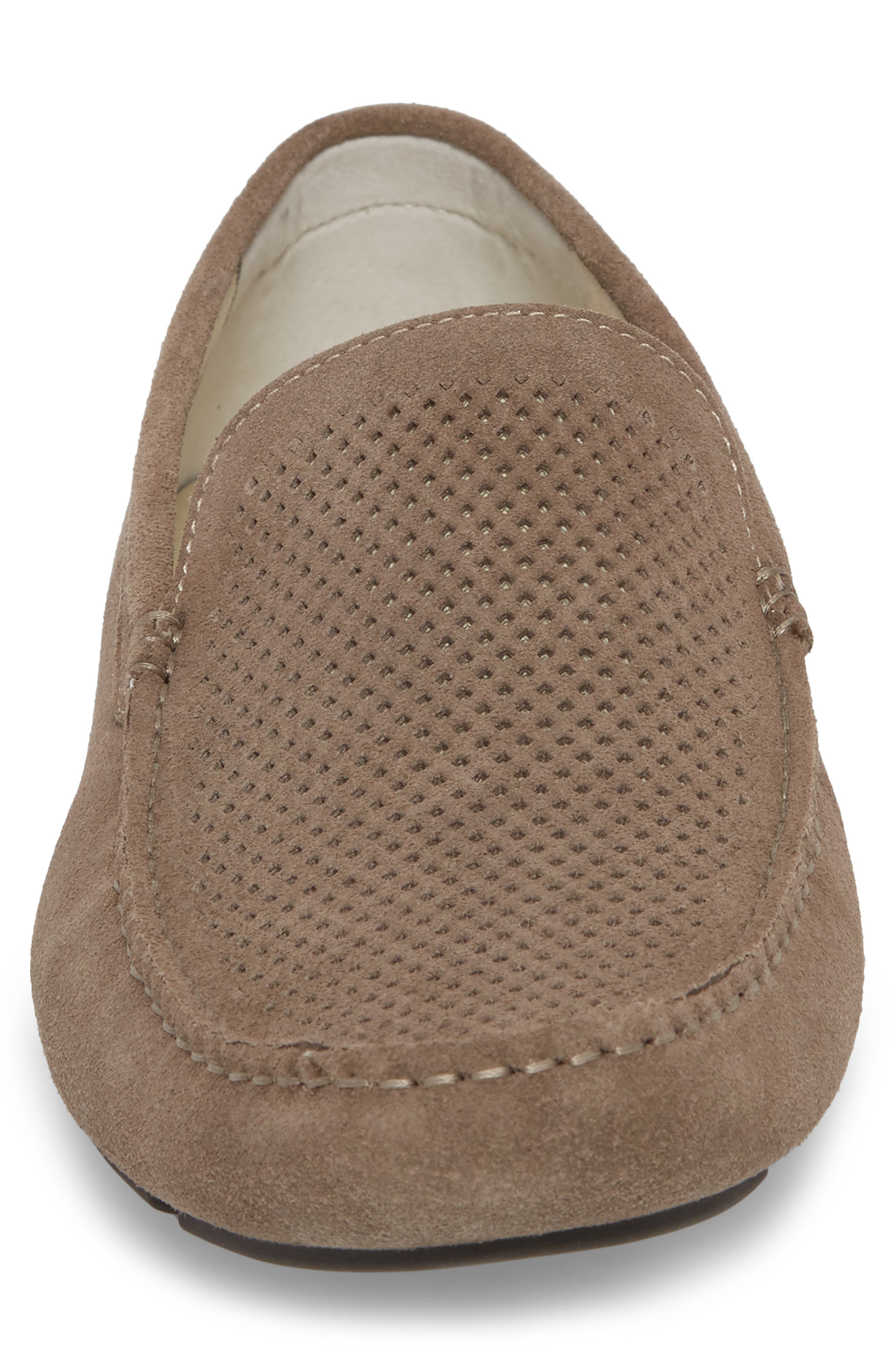 Scottsdale Perforated Driving Moccasin,                             Alternate thumbnail 4, color,                             Grey Suede