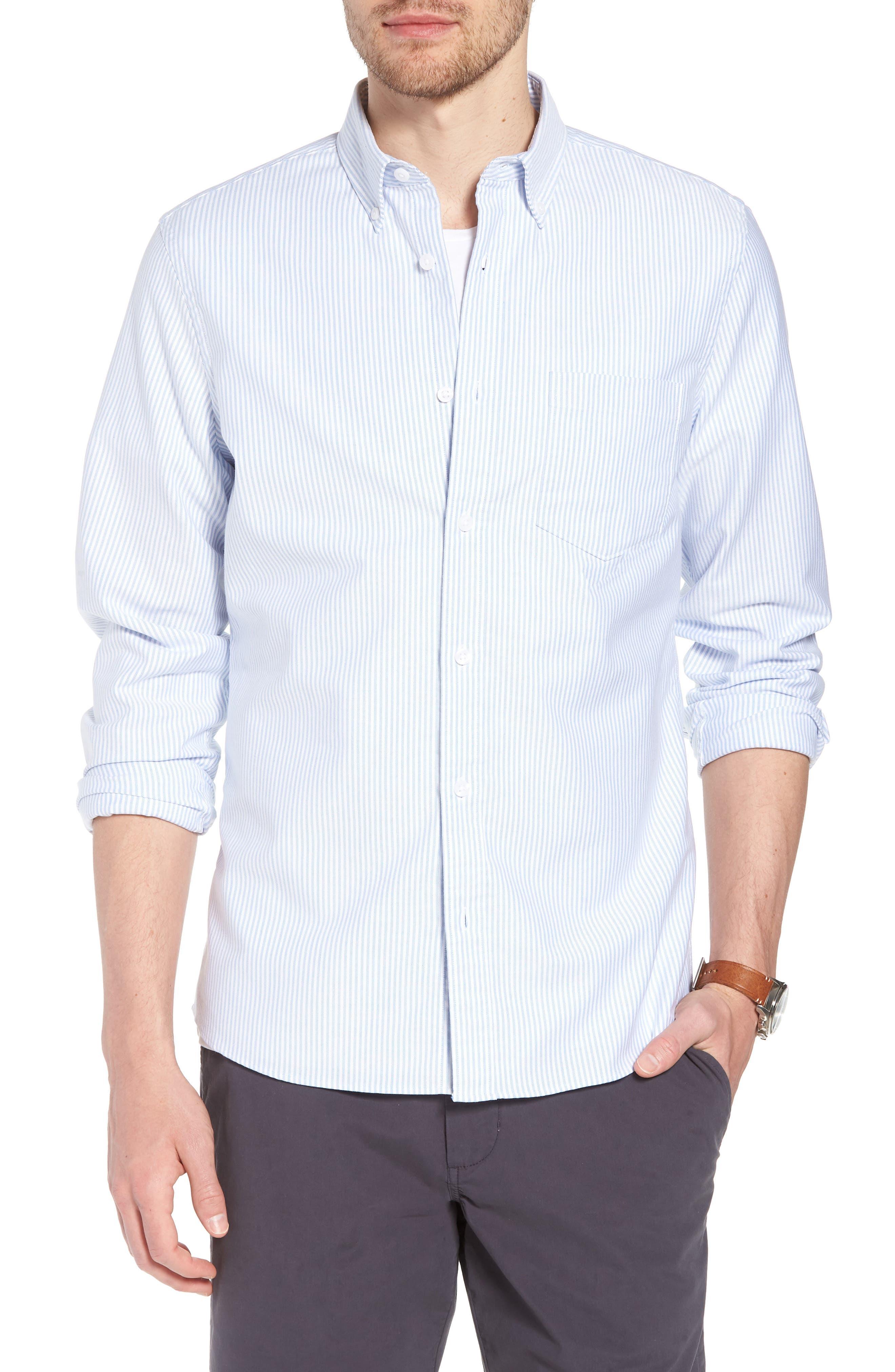 Trim Fit Bengal Stripe Sport Shirt,                         Main,                         color, Blue White Bengal Stripe
