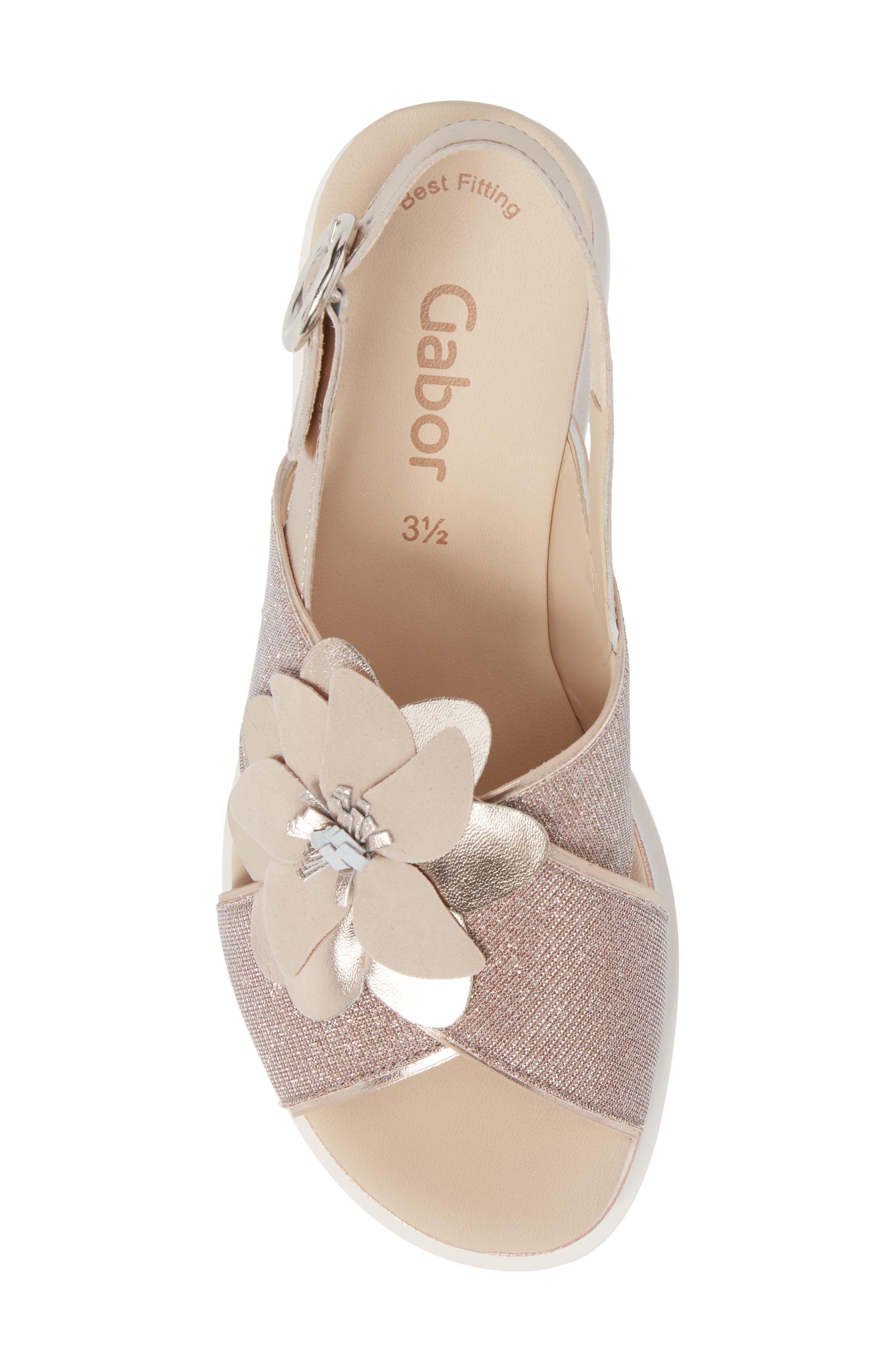 Flower Platform Sandal,                             Alternate thumbnail 5, color,                             Rose Metallic Fabric