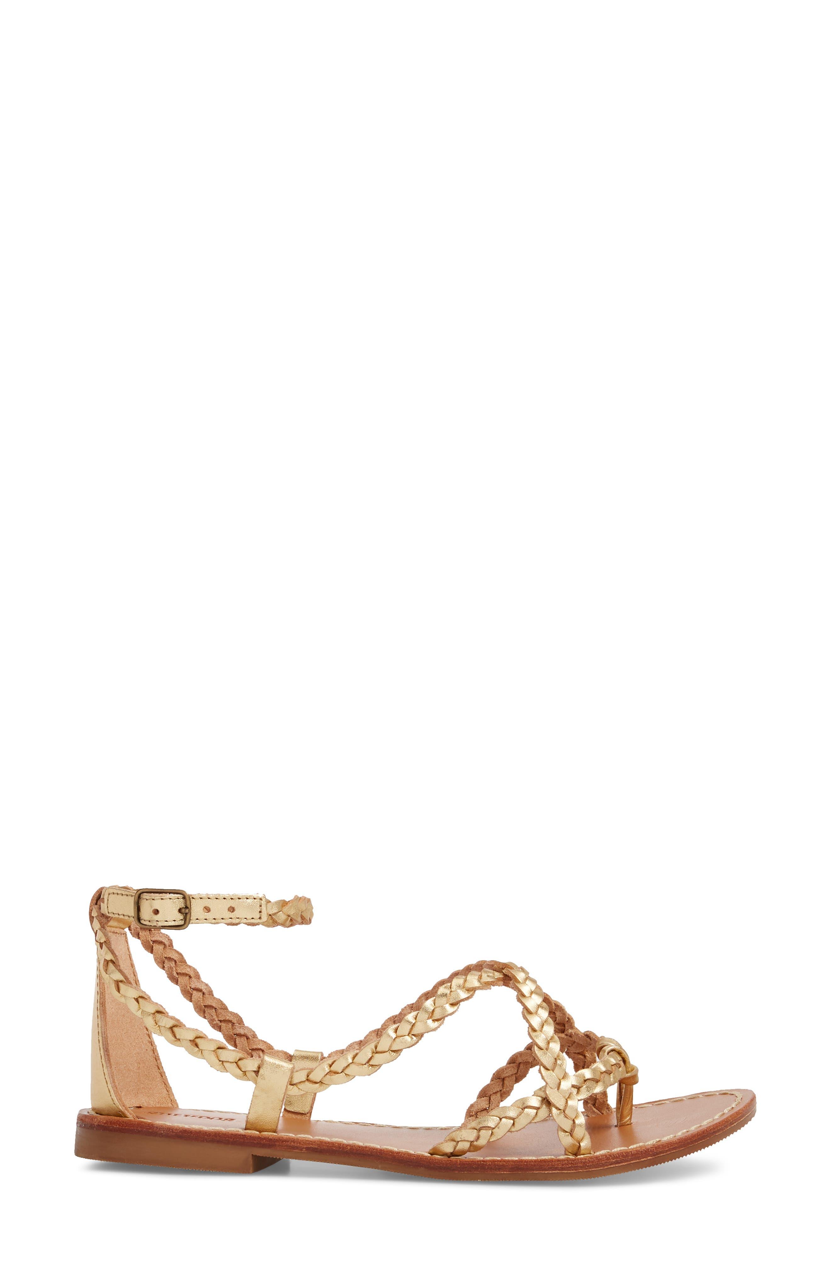 Amalfi Braided Metallic Sandal,                             Alternate thumbnail 3, color,                             Gold Leather