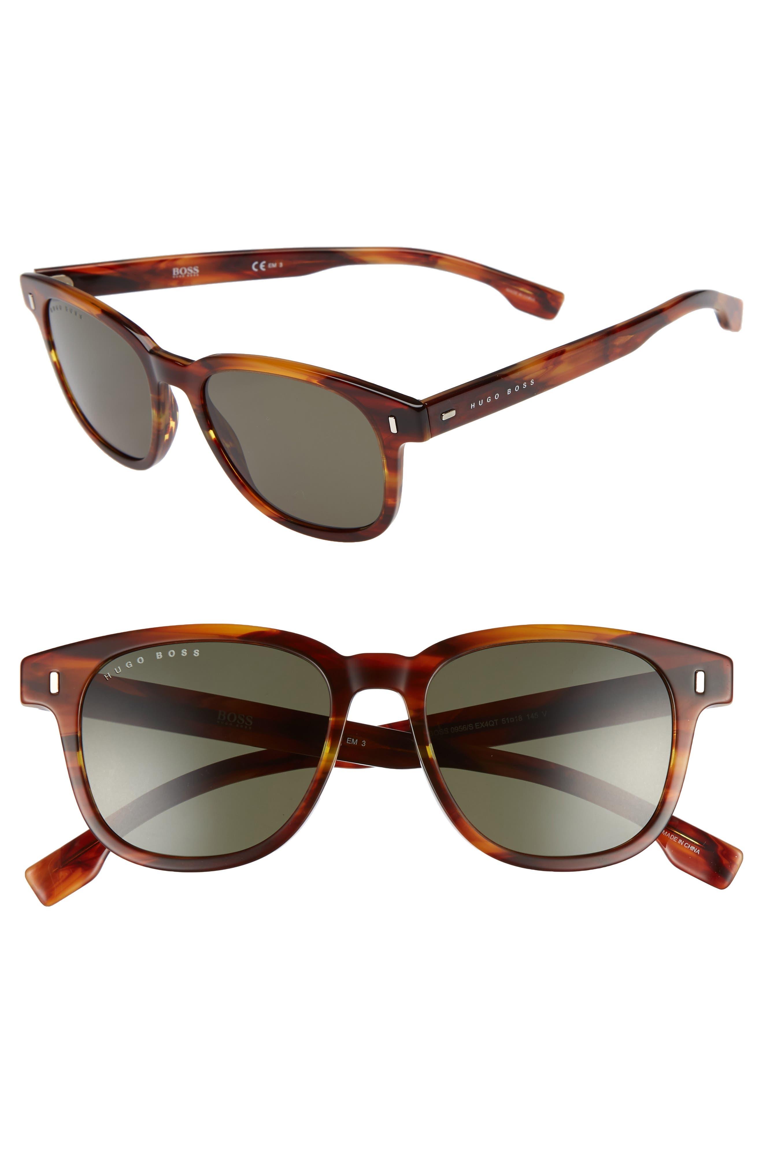 51mm Polarized Sunglasses,                             Main thumbnail 1, color,                             Brown Horn