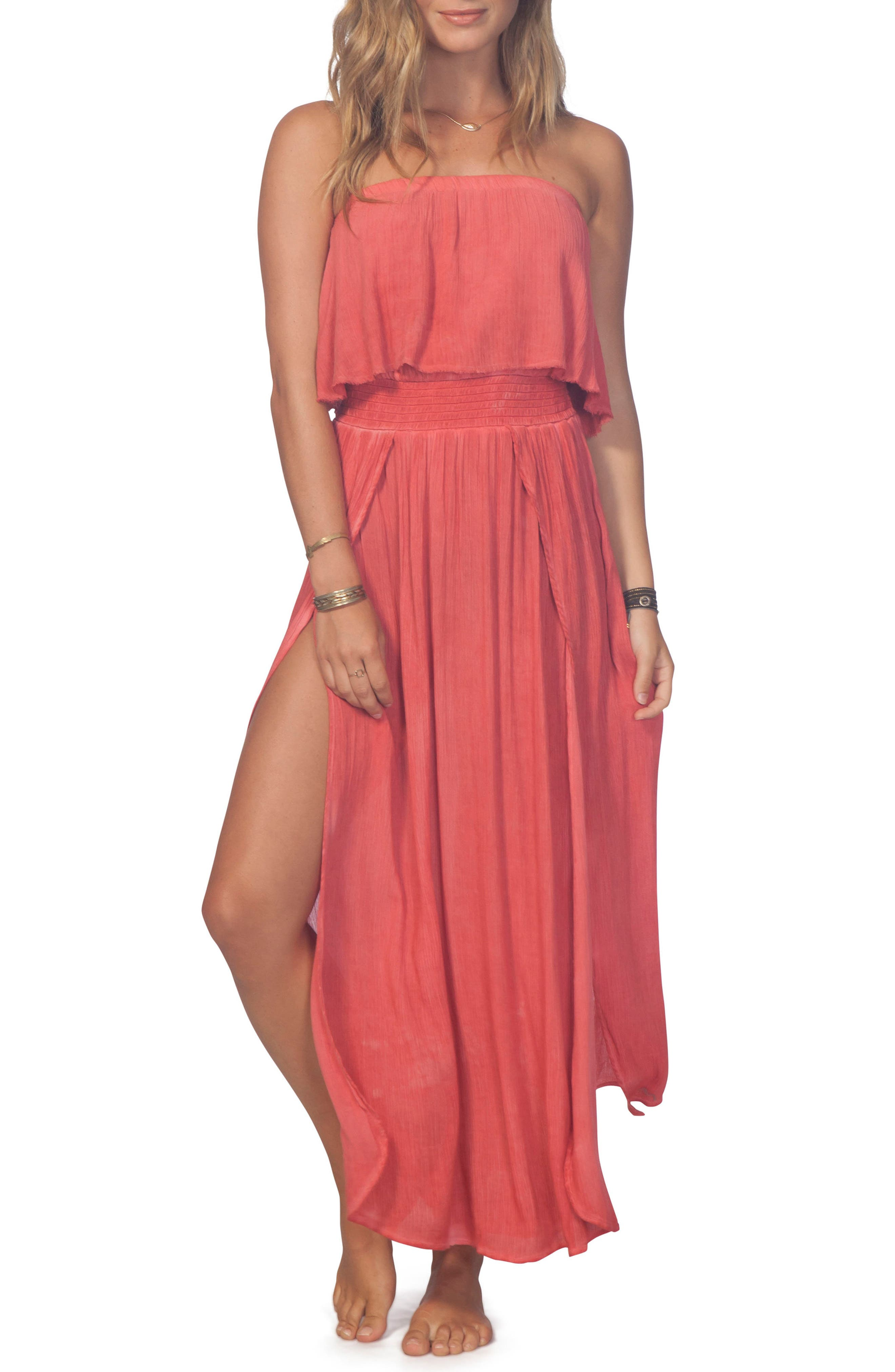 Beach Babe Popover Strapless Maxi Dress,                         Main,                         color, Red
