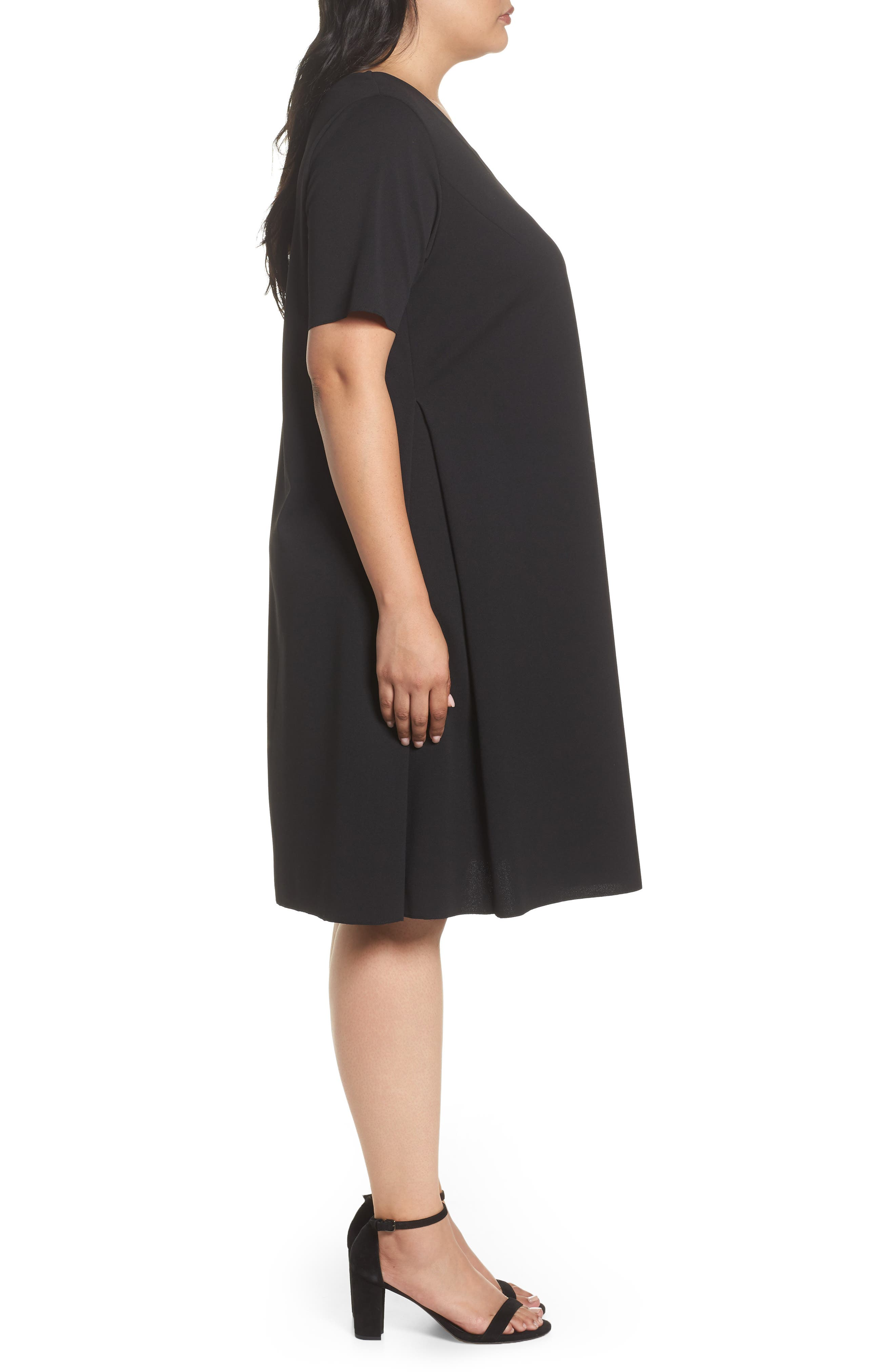 Short Sleeve Knit Dress,                             Alternate thumbnail 3, color,                             Black