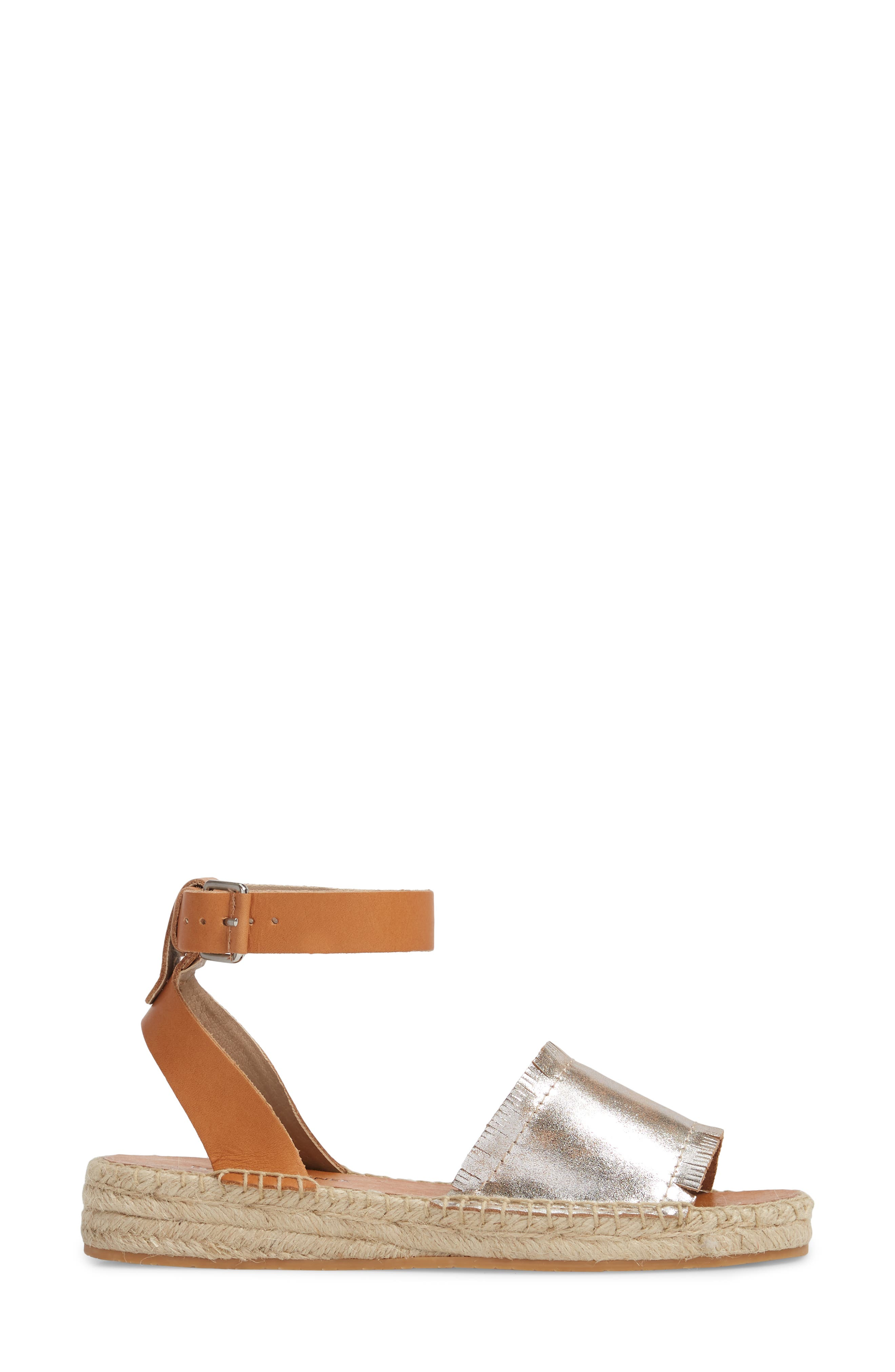 Rowen Espadrille Sandal,                             Alternate thumbnail 3, color,                             Silver Leather