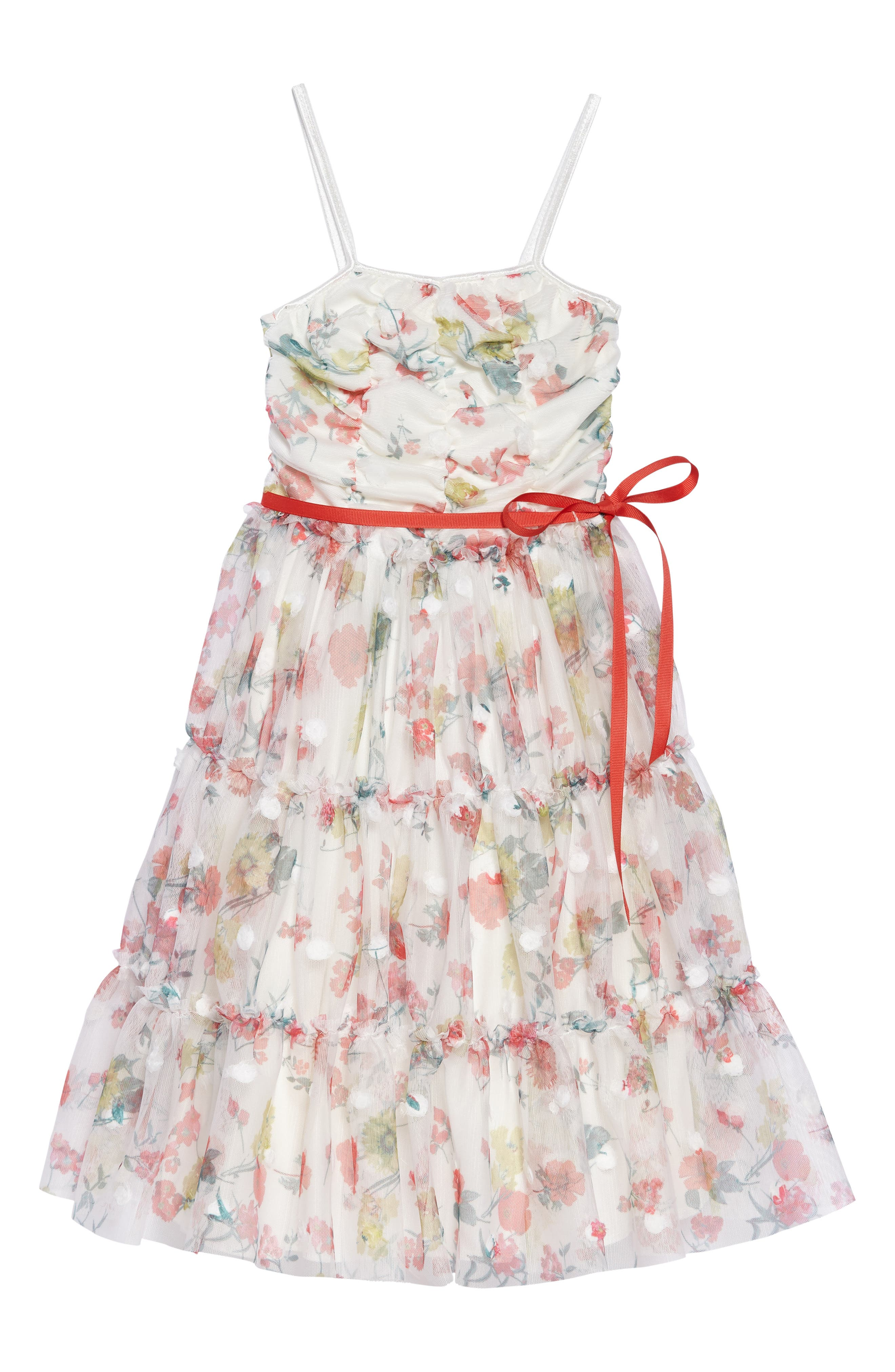 Printed Mesh Tiered Sundress,                         Main,                         color, White Multi