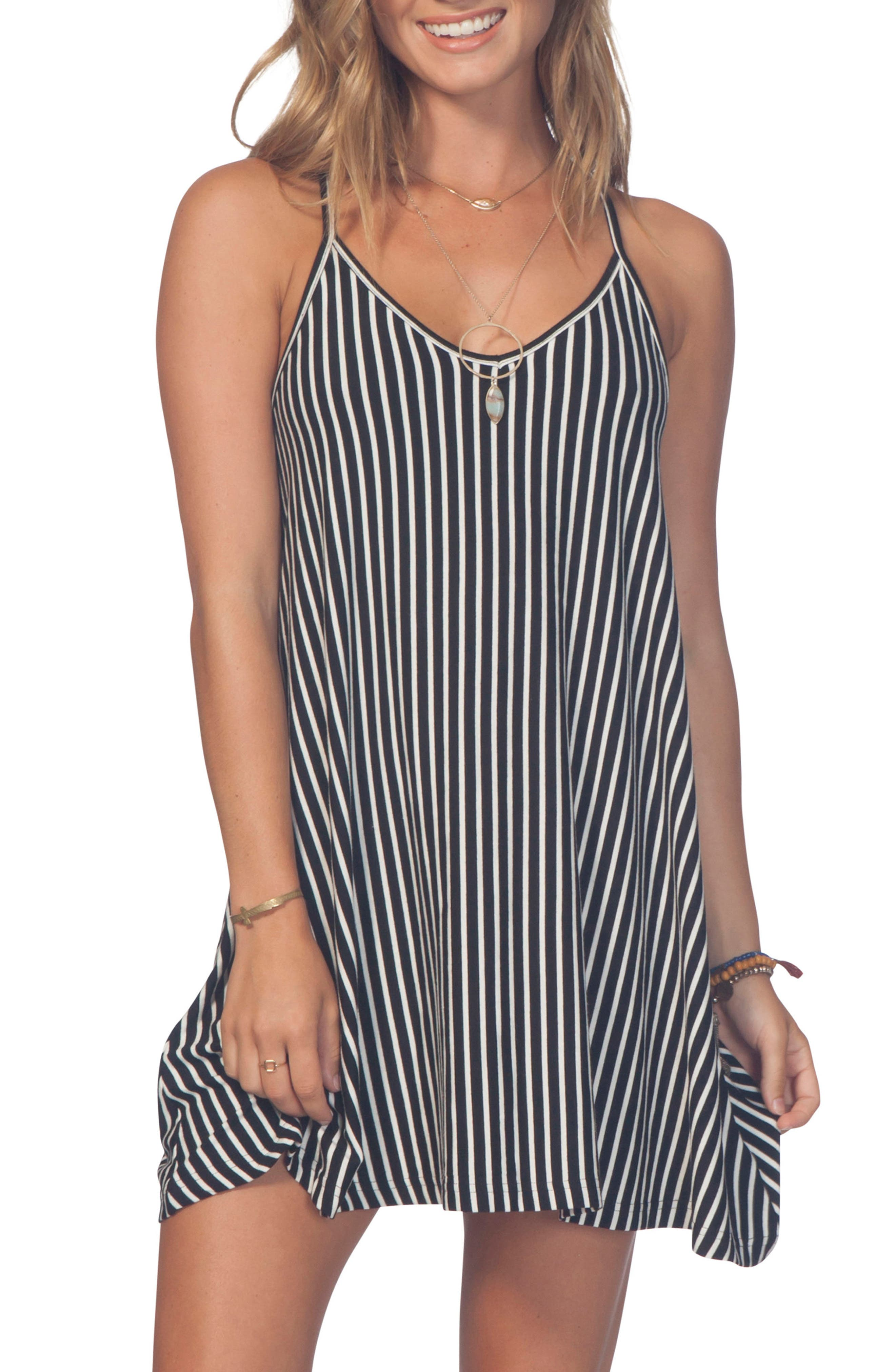 Day Tripper Strappy Swing Dress,                         Main,                         color, Black