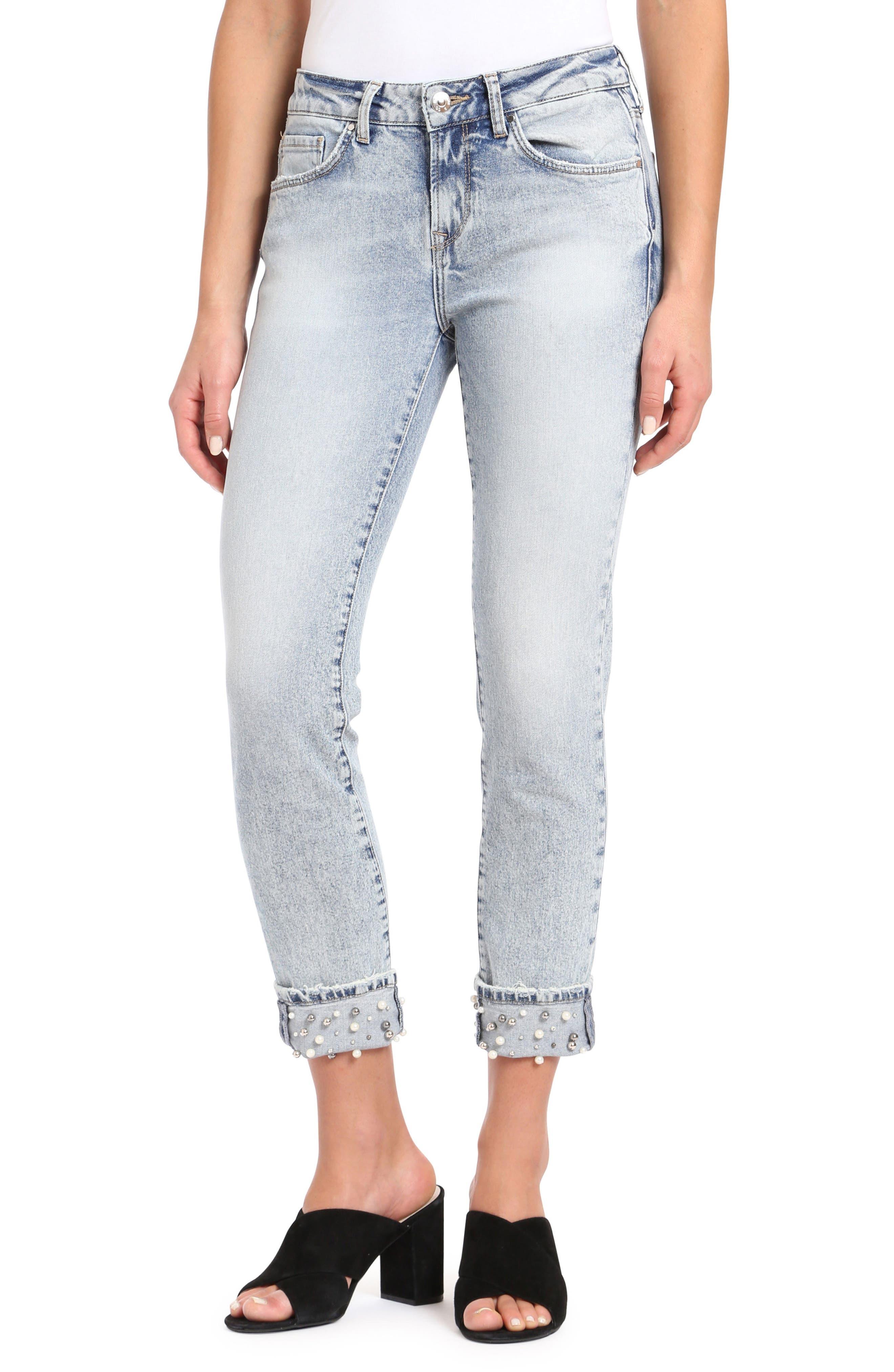 Mavi Jeans Ada Embellished Boyfriend Jeans (Reversed Pearl)