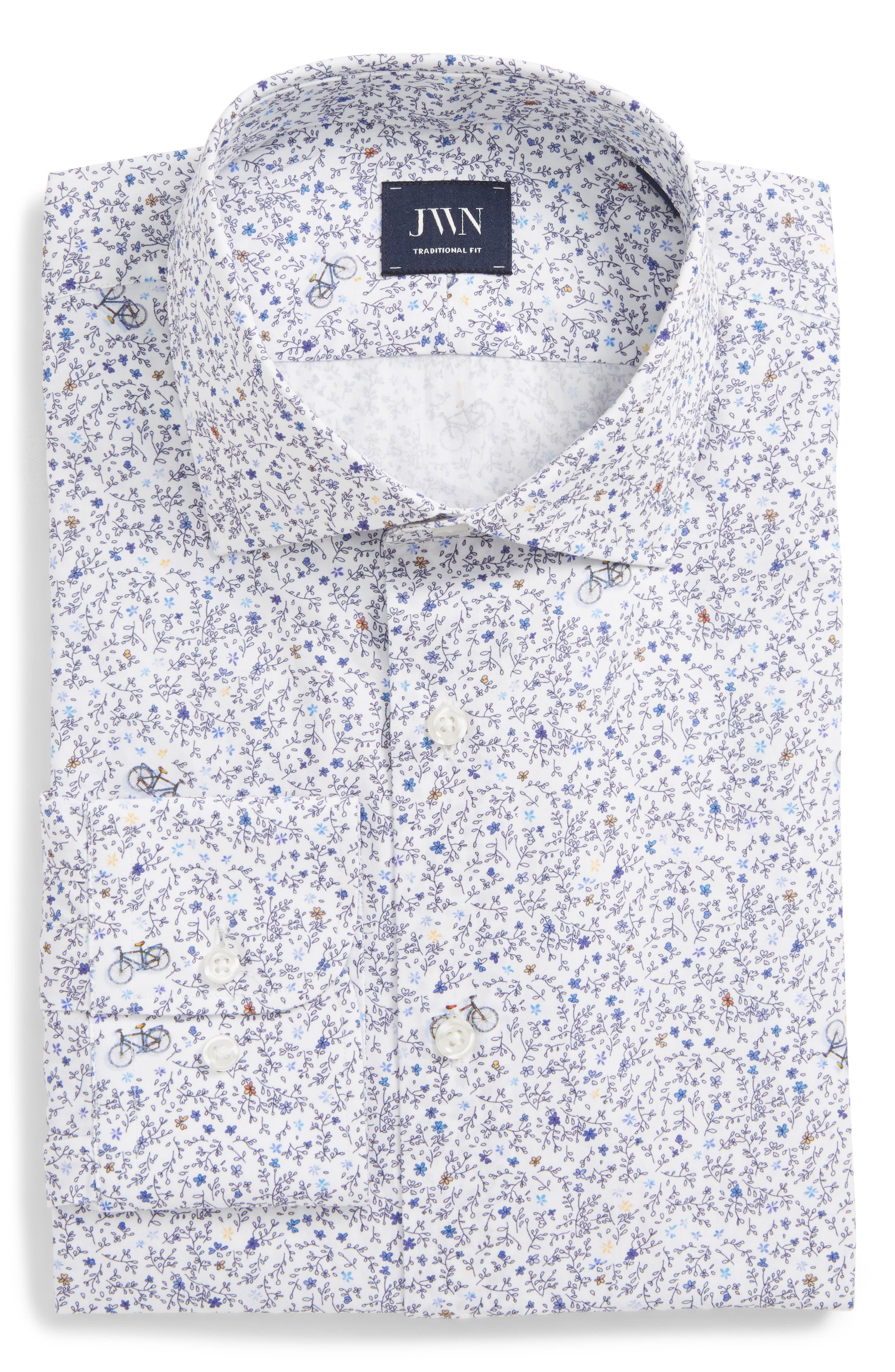 Traditional Fit Floral Dress Shirt,                             Main thumbnail 1, color,                             Navy Medieval