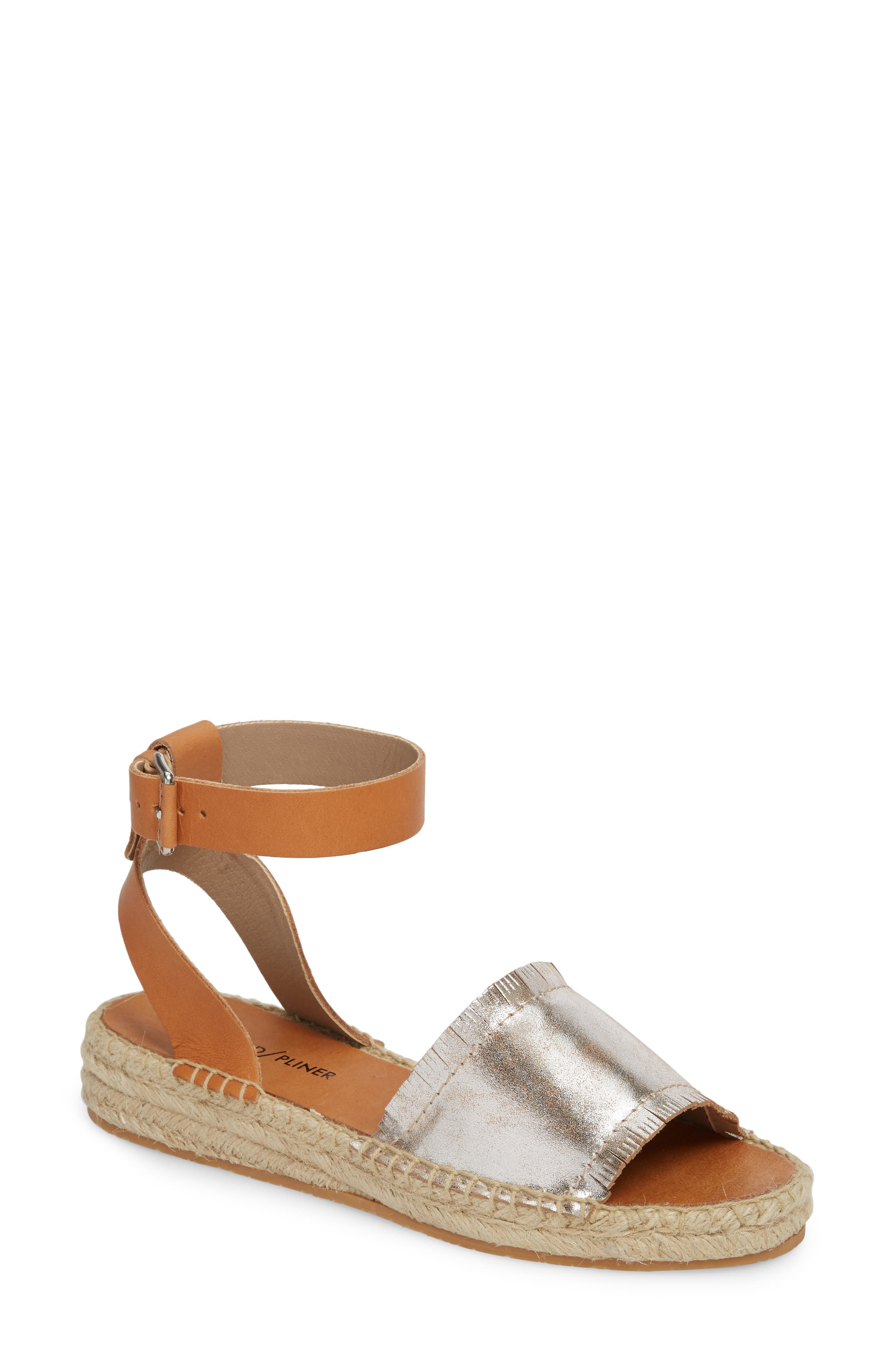 Rowen Espadrille Sandal,                         Main,                         color, Silver Leather
