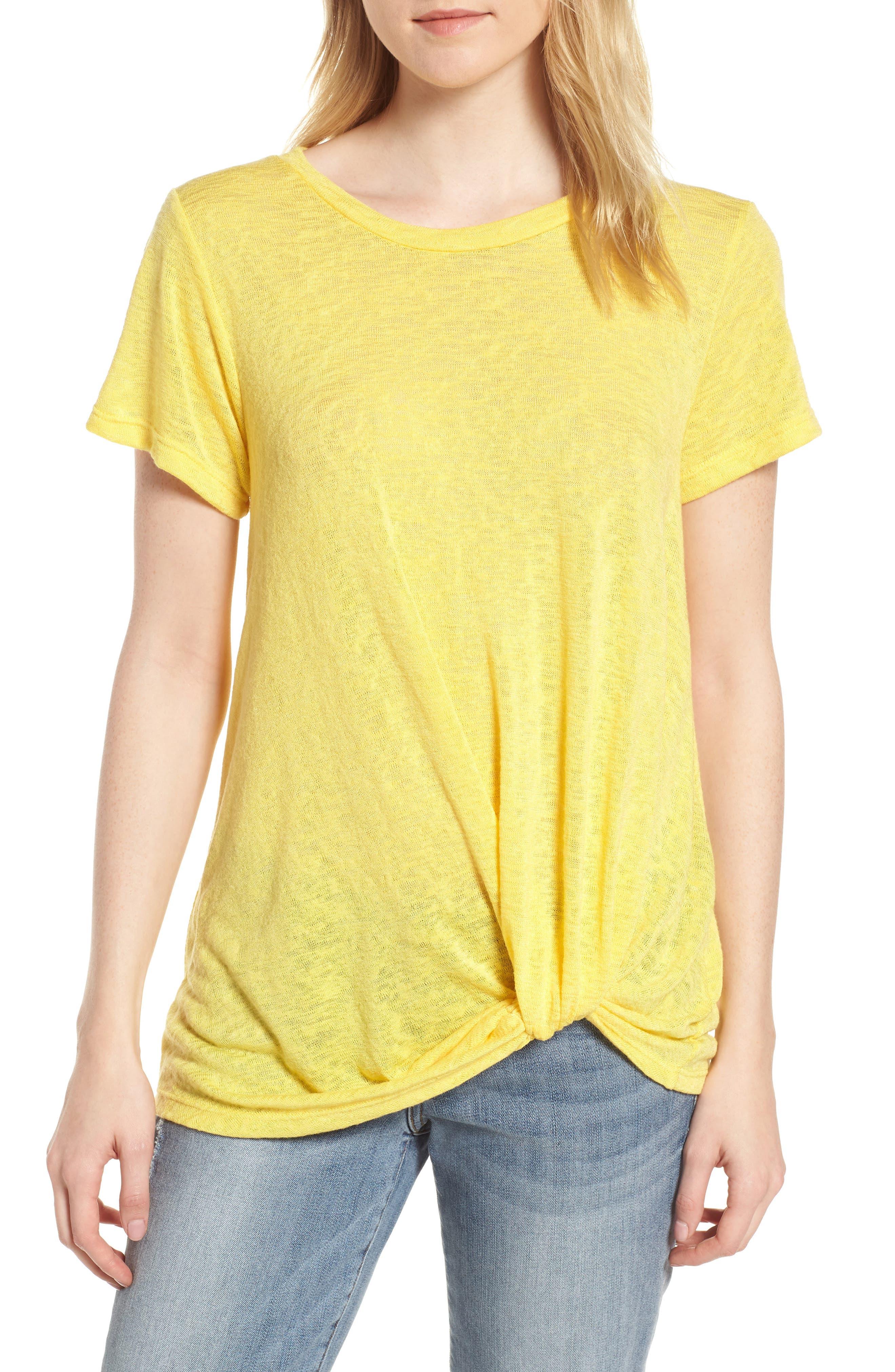 Jessica Twist Hem Slub Tee,                         Main,                         color, Yellow Zest