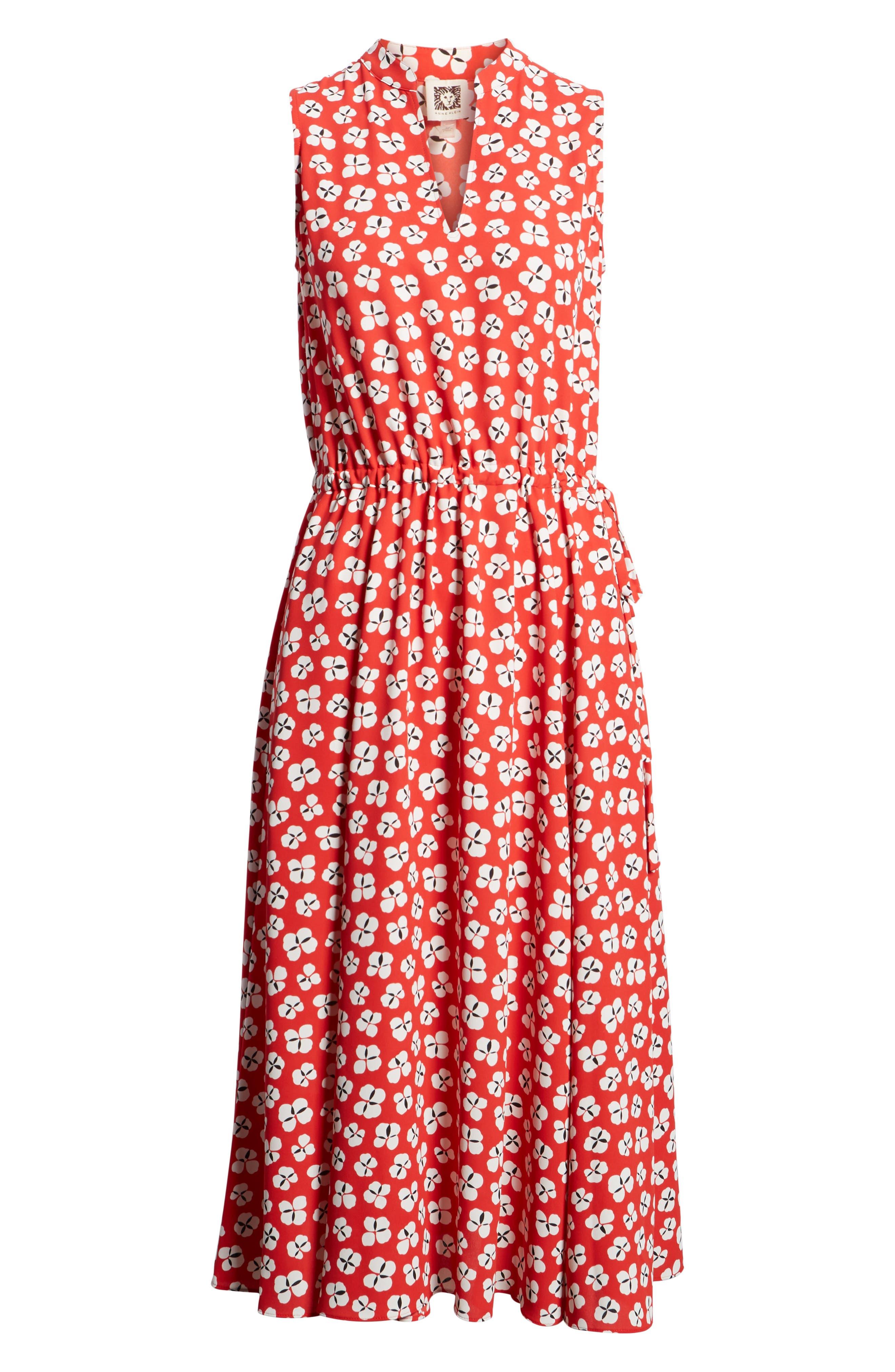 Zuma Petal Drawstring Midi Dress,                             Alternate thumbnail 7, color,                             Tomato/ Parchment Combo