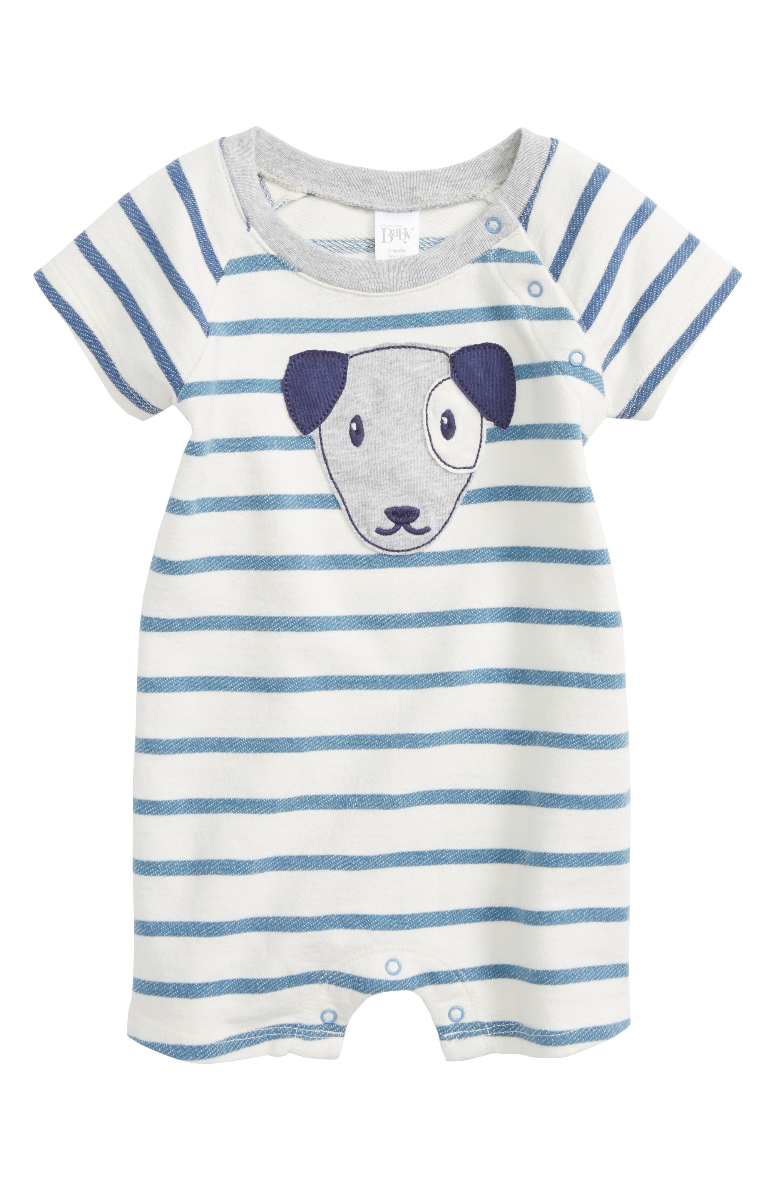 Dog Appliqué Stripe Romper,                             Main thumbnail 1, color,                             Blue Captain Breton