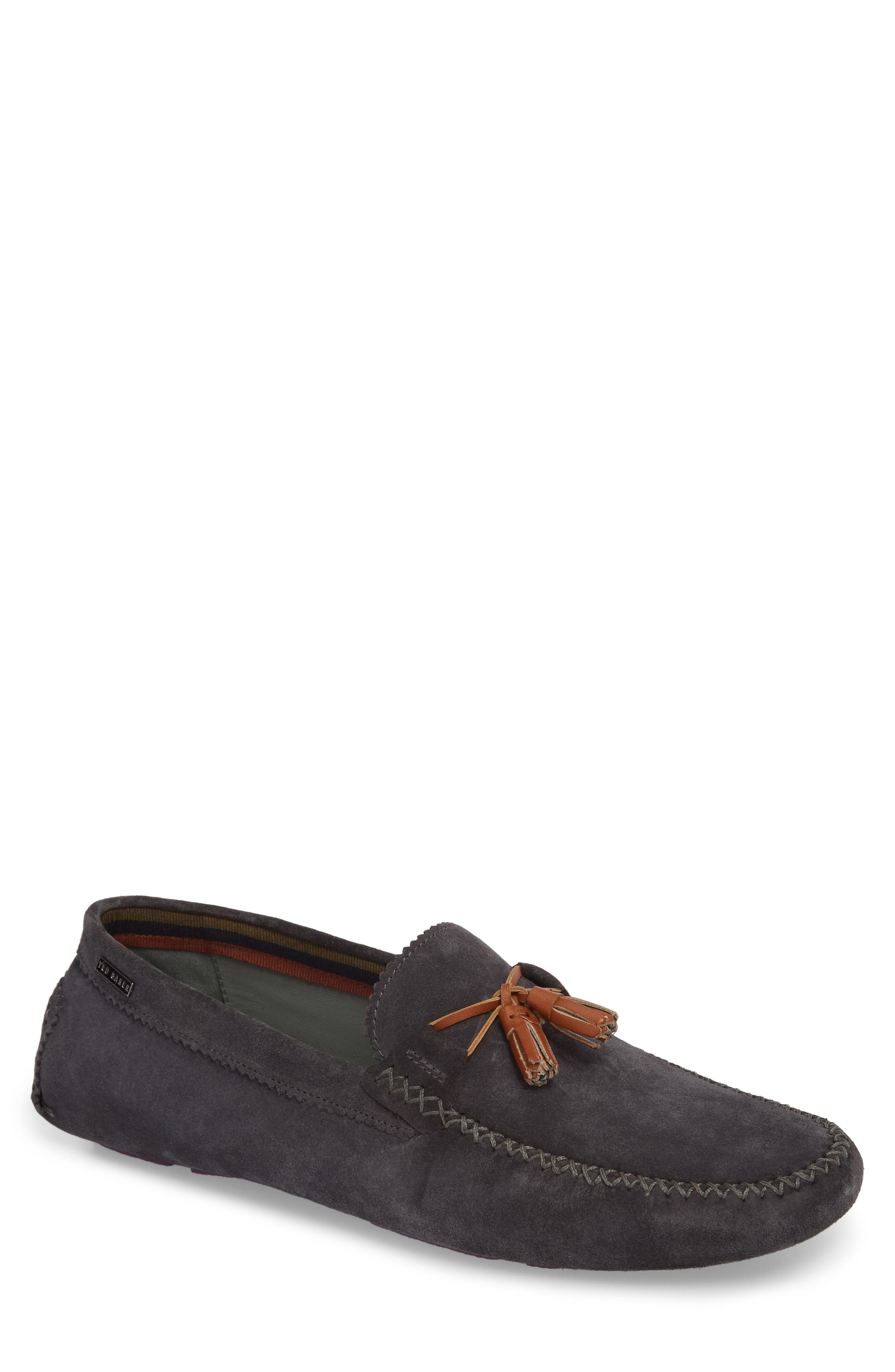 Urbonns Tasseled Driving Loafer,                             Main thumbnail 1, color,                             Grey Suede