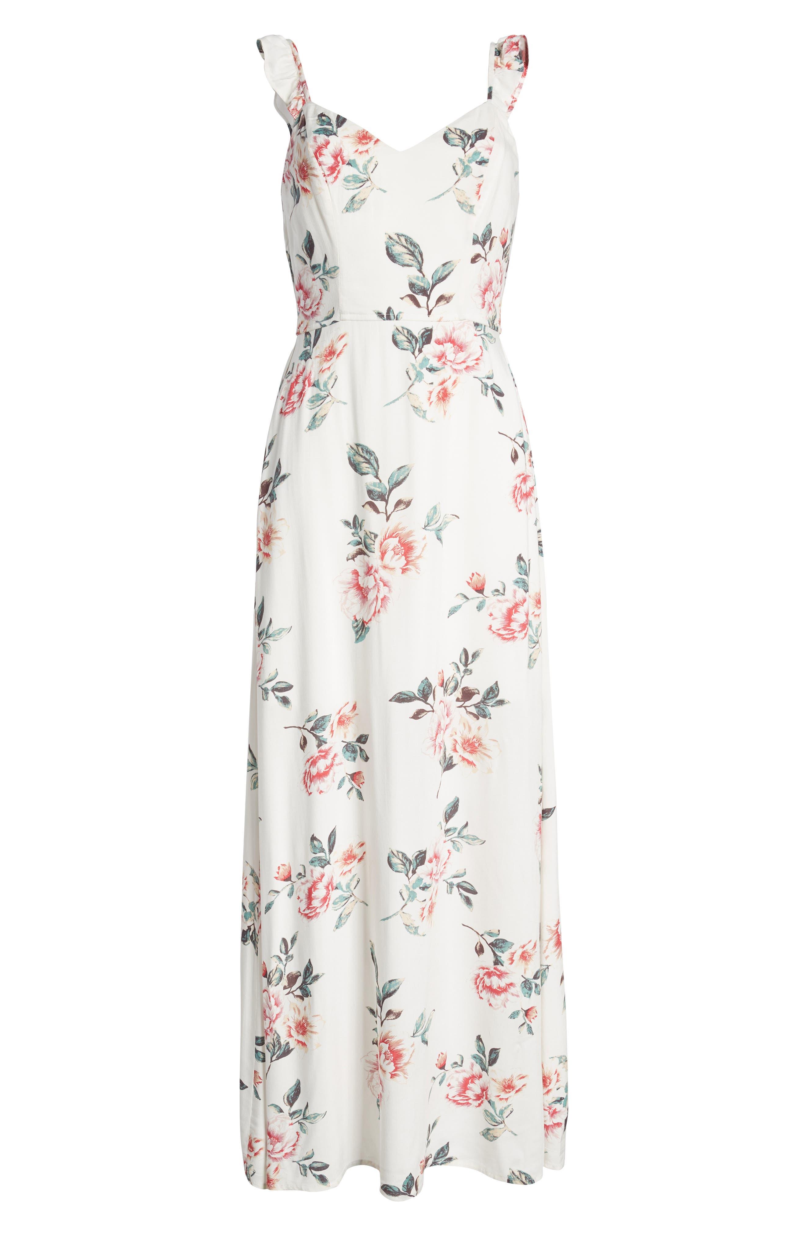 Flutter Sleeve Maxi Dress,                             Alternate thumbnail 7, color,                             Ivory Floral