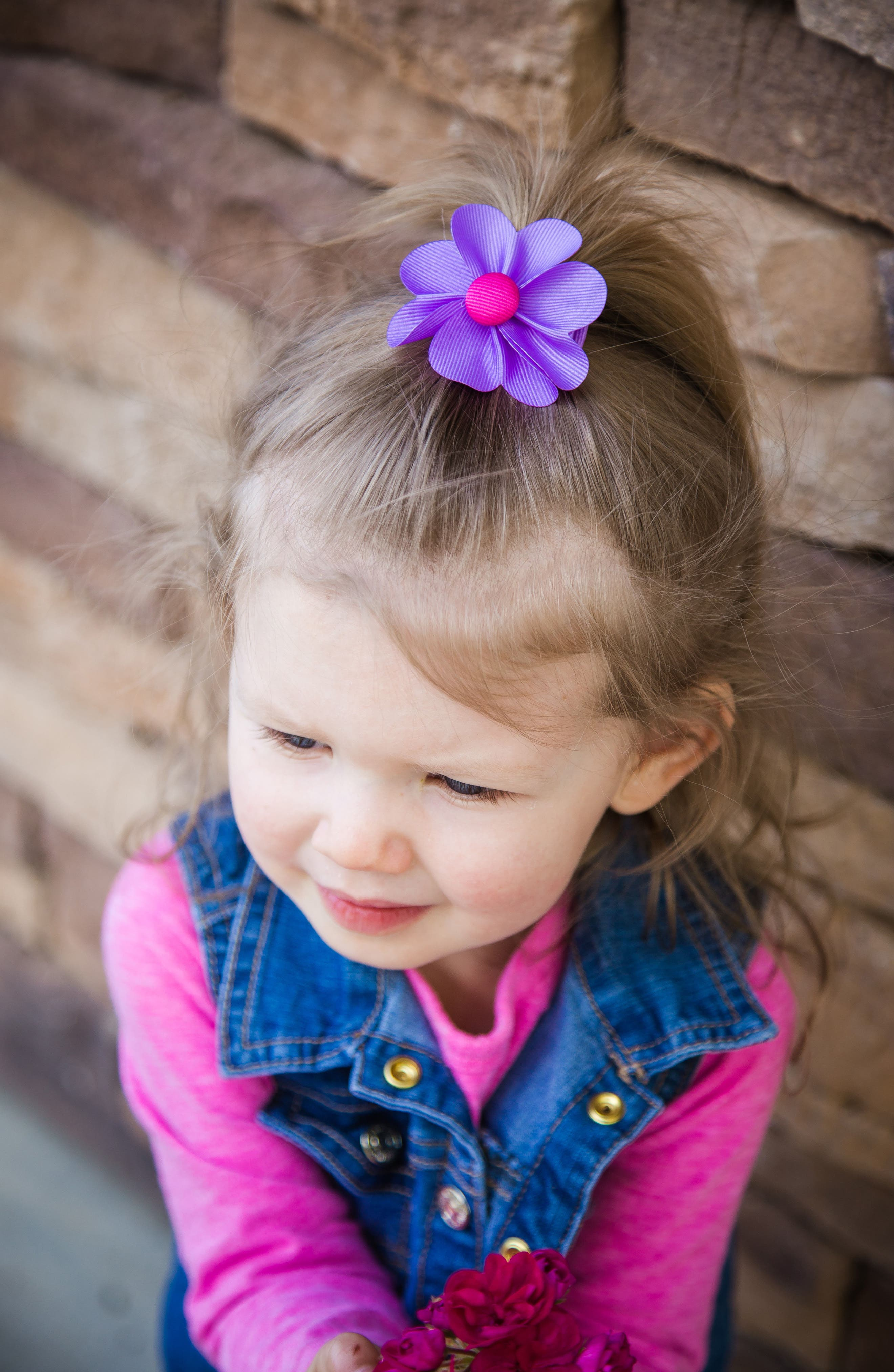 Alternate Image 2  - PLH Bows & Laces Flower Hair Clip (Baby Girls)