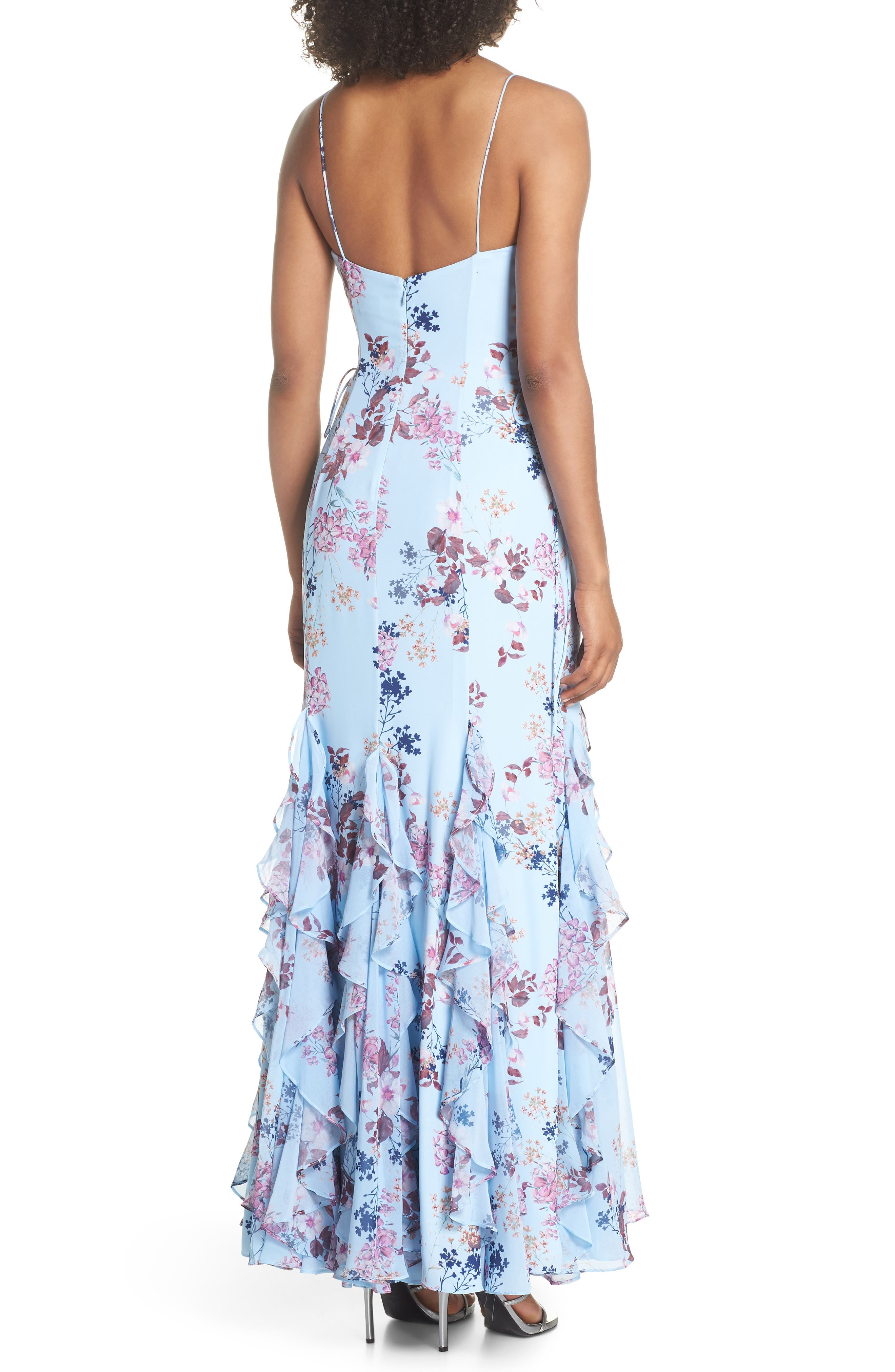Anna Lace-Up Trumpet Gown,                             Alternate thumbnail 2, color,                             Rustic Floral
