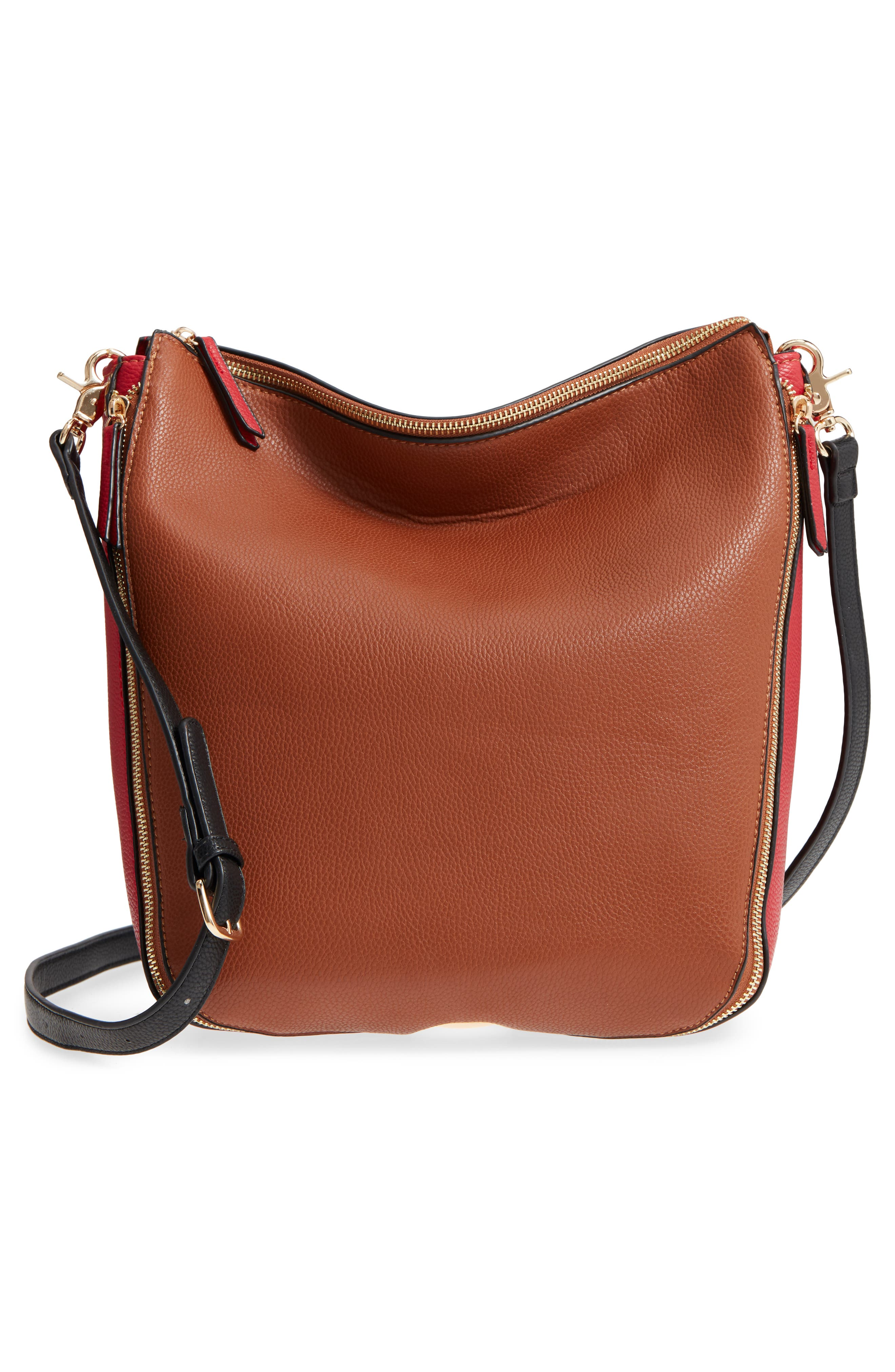 Colorblock Faux Leather Hobo,                             Alternate thumbnail 3, color,                             Cognac/ Red
