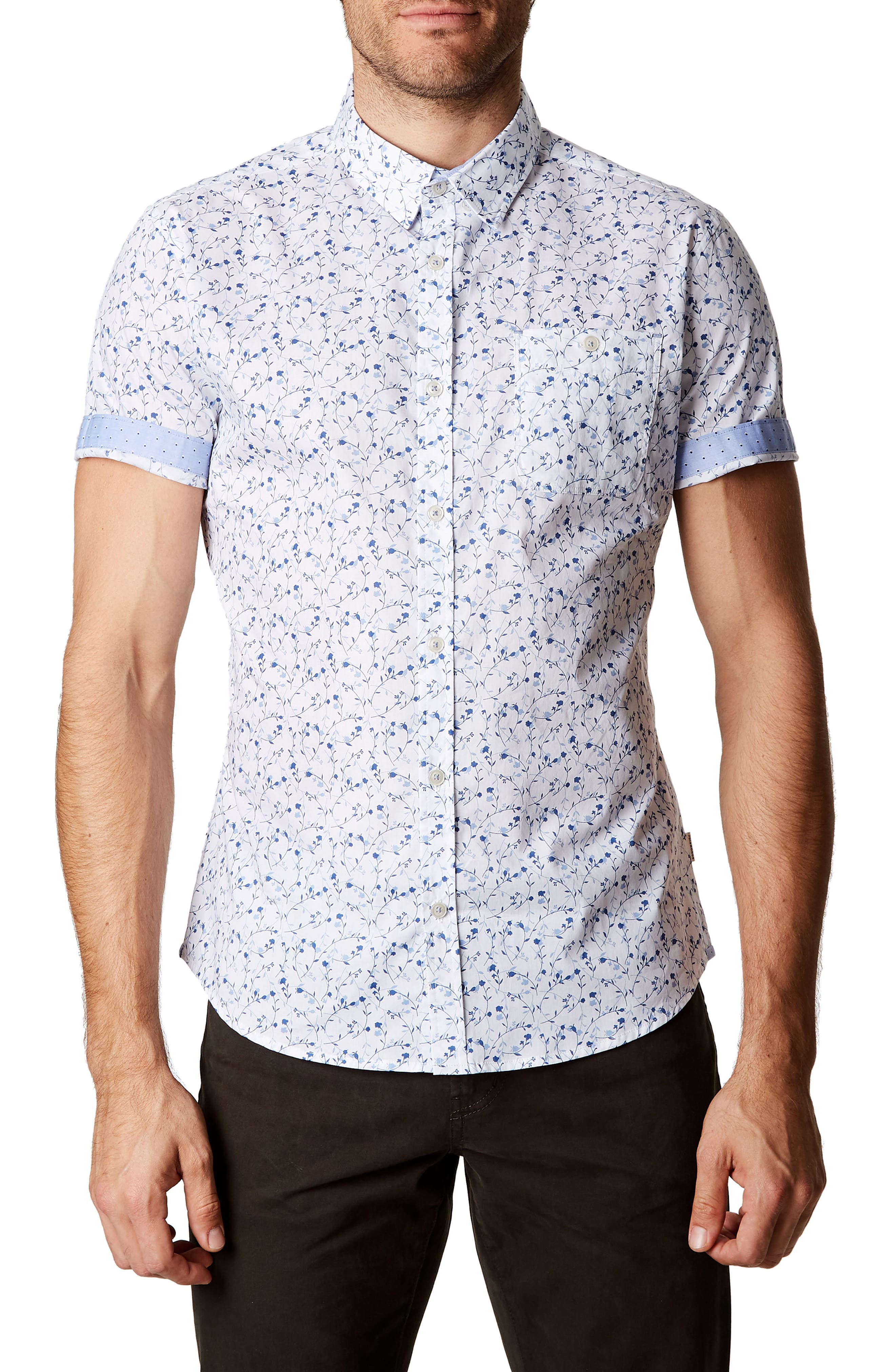 Mind Gardens Floral Sport Shirt,                             Main thumbnail 1, color,                             White