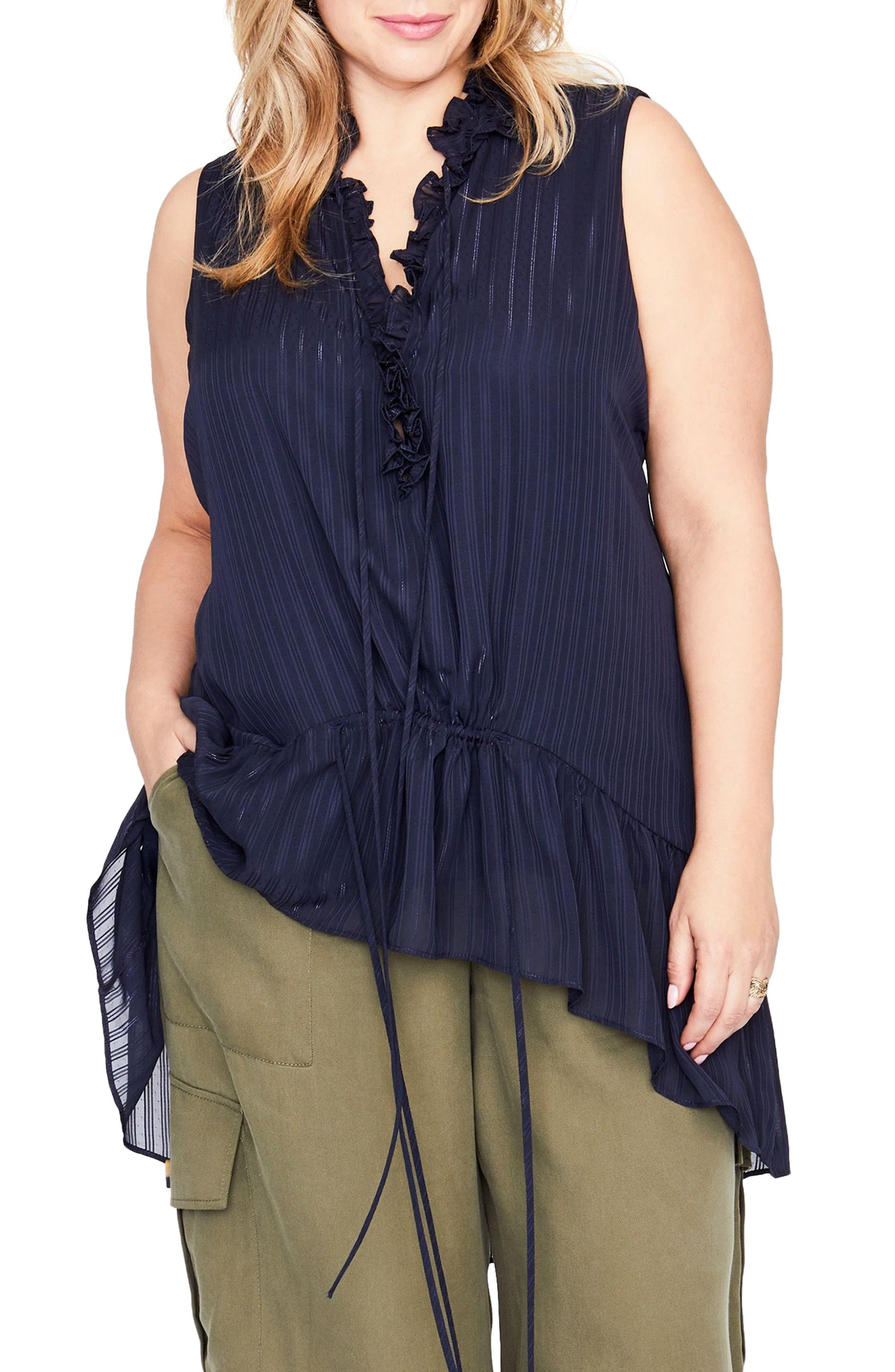RACHEL Rachel Roy Asymmetrical Flounce Top (Plus Size)