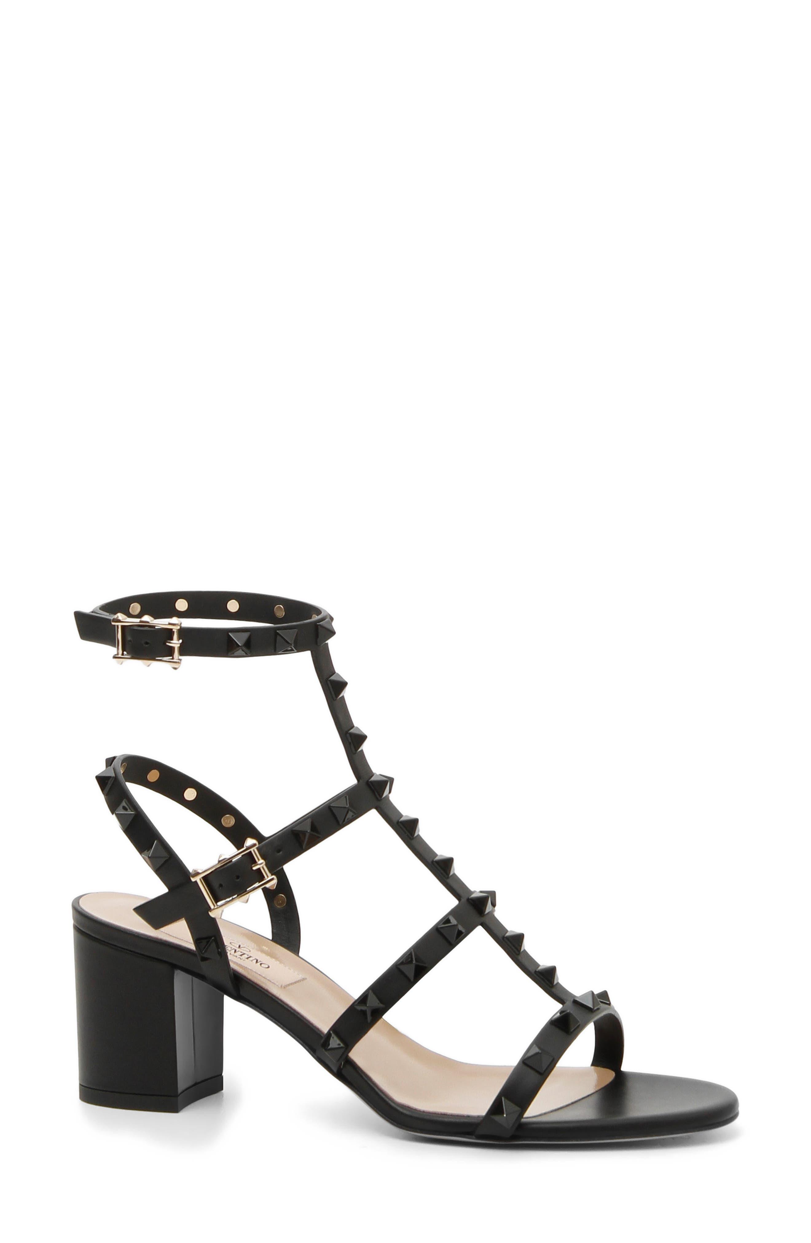 Rockstud Block Heel Sandal,                             Main thumbnail 1, color,                             Black