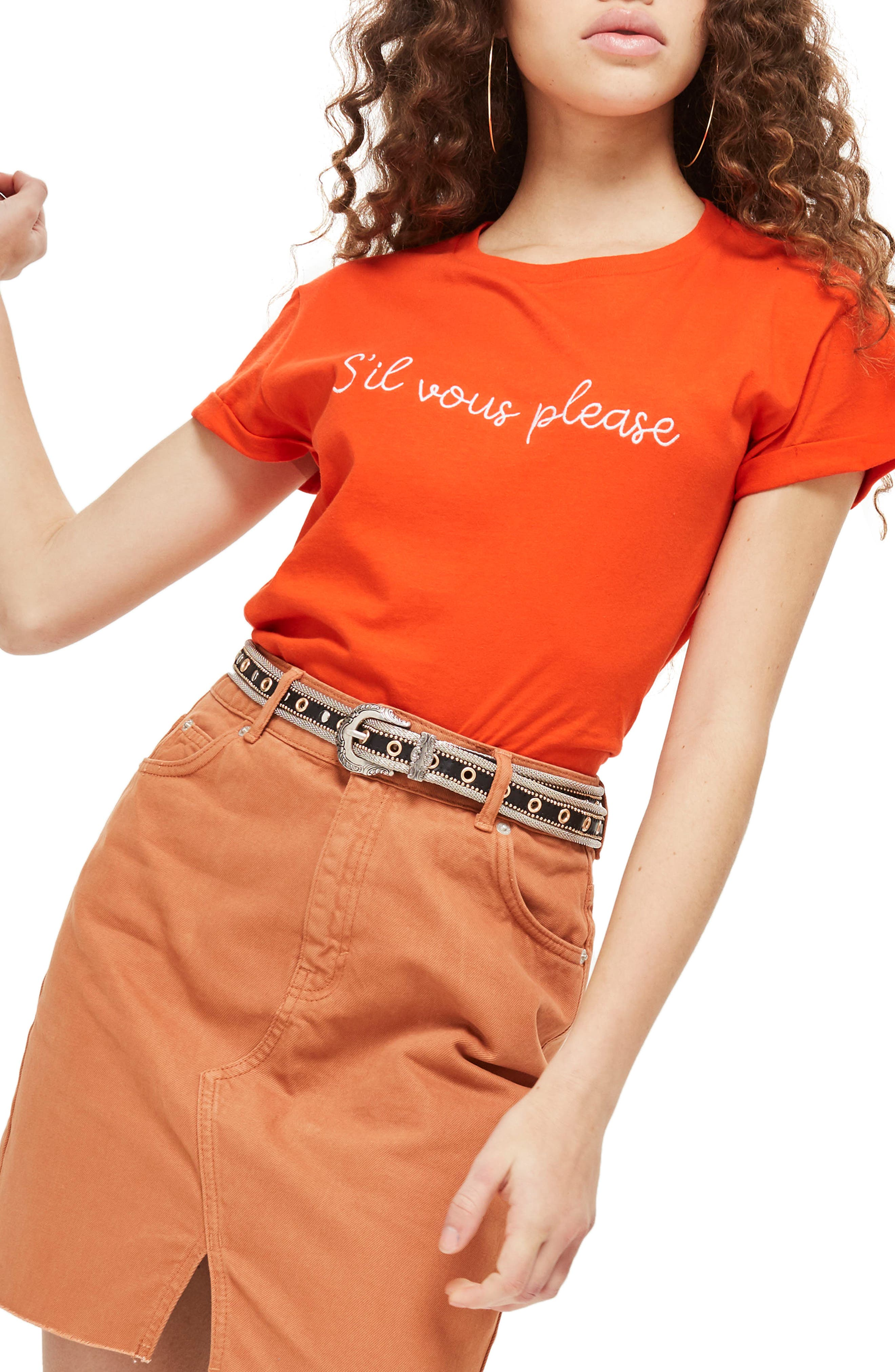 Sil Vous Please Slogan T-Shirt,                         Main,                         color, Red