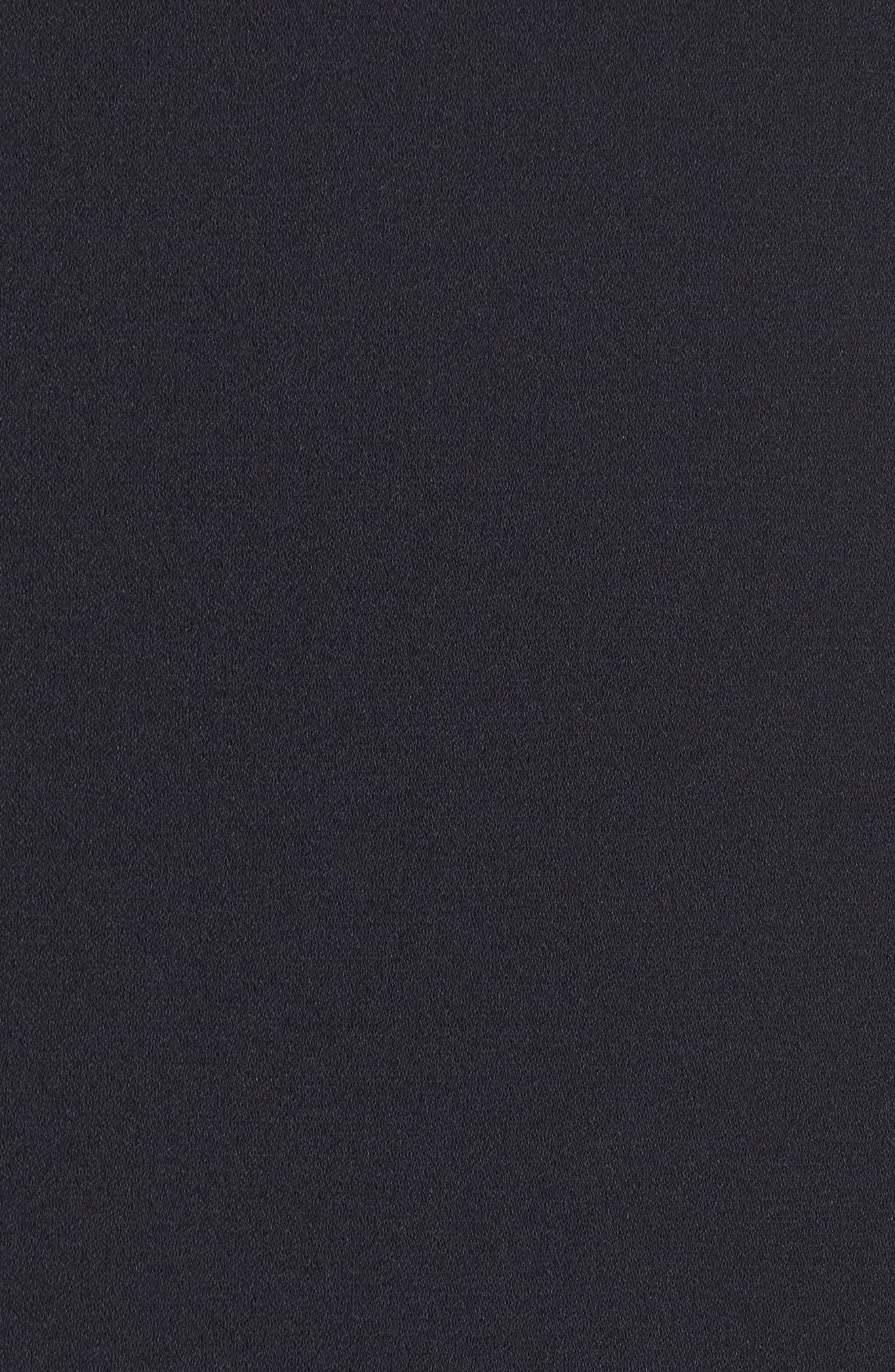Illusion Neck Crepe Trumpet Dress,                             Alternate thumbnail 6, color,                             Dark Navy