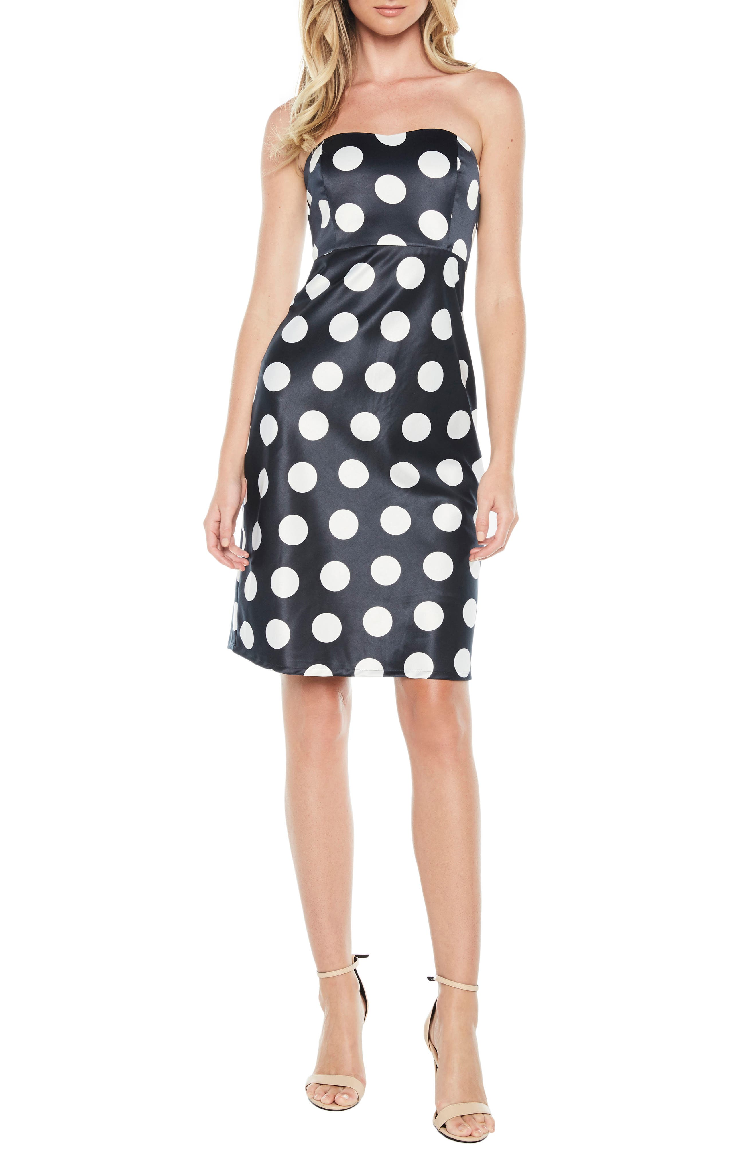 Sayer Dotted Tie Back Strapless Dress,                         Main,                         color, Navy Spot